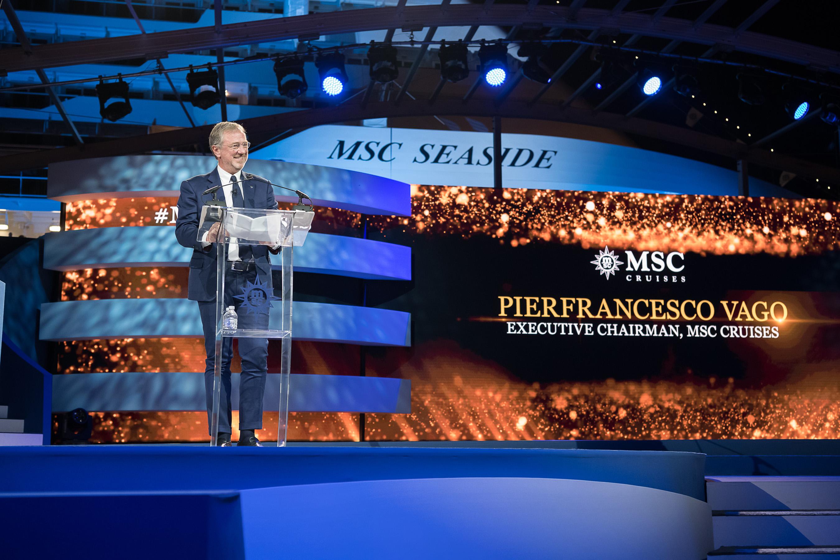 Pierfrancesco Vago, Executive Chairman, Introduces New MSC Seaside to Miami.