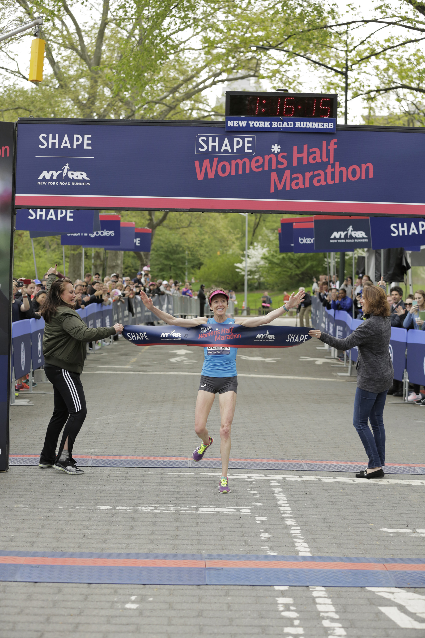 World masters half-marathon record-holder Deena Kastor takes first place at the SHAPE Women's Half Marathon on Sunday, April 30. The three time champion crossed the finish line in 01:16:17.