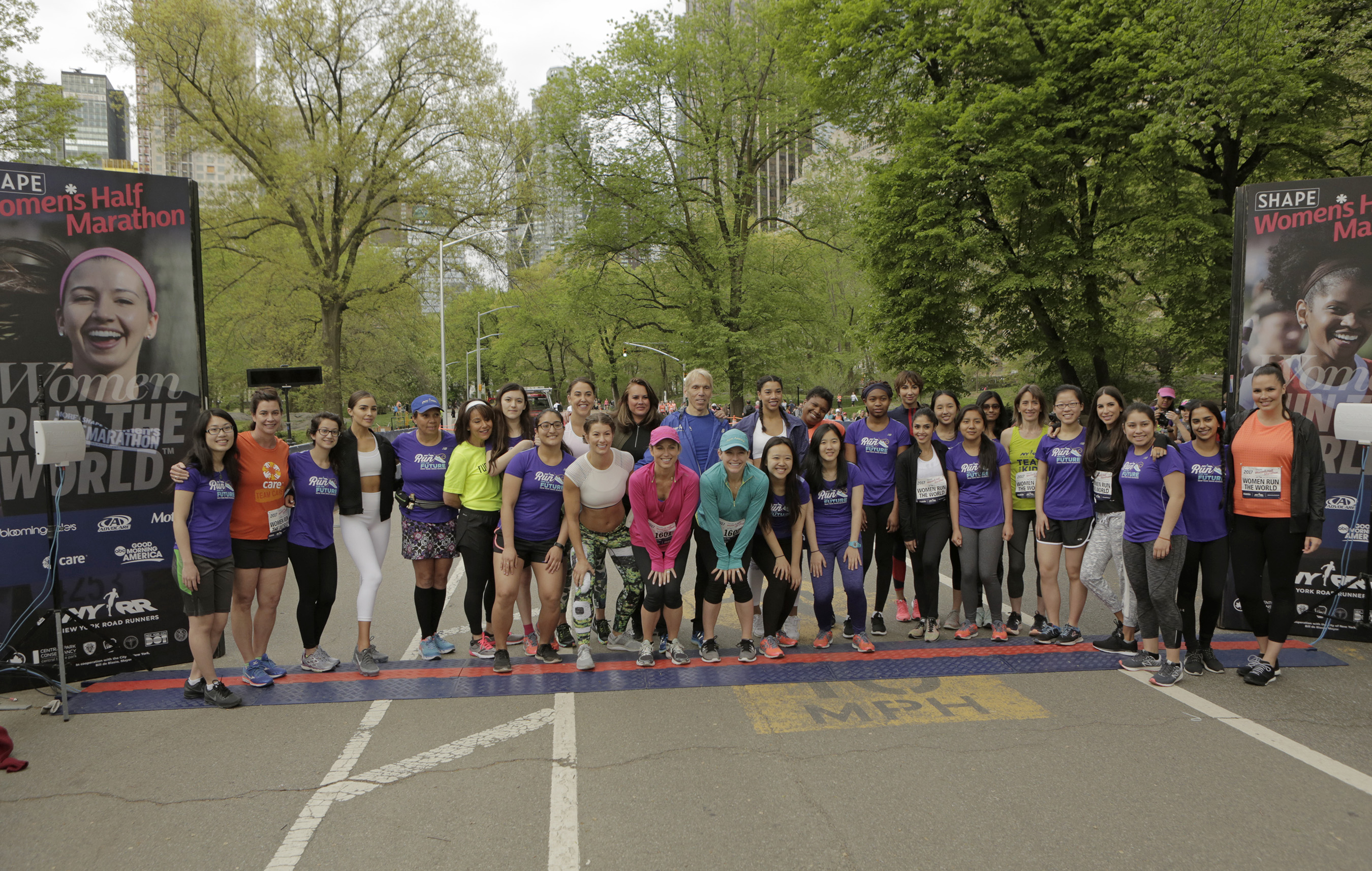 Women Run the World honorees and mentees at the start line of the 14th annual SHAPE Women's Half Marathon on Sunday, April 30 in Central Park.