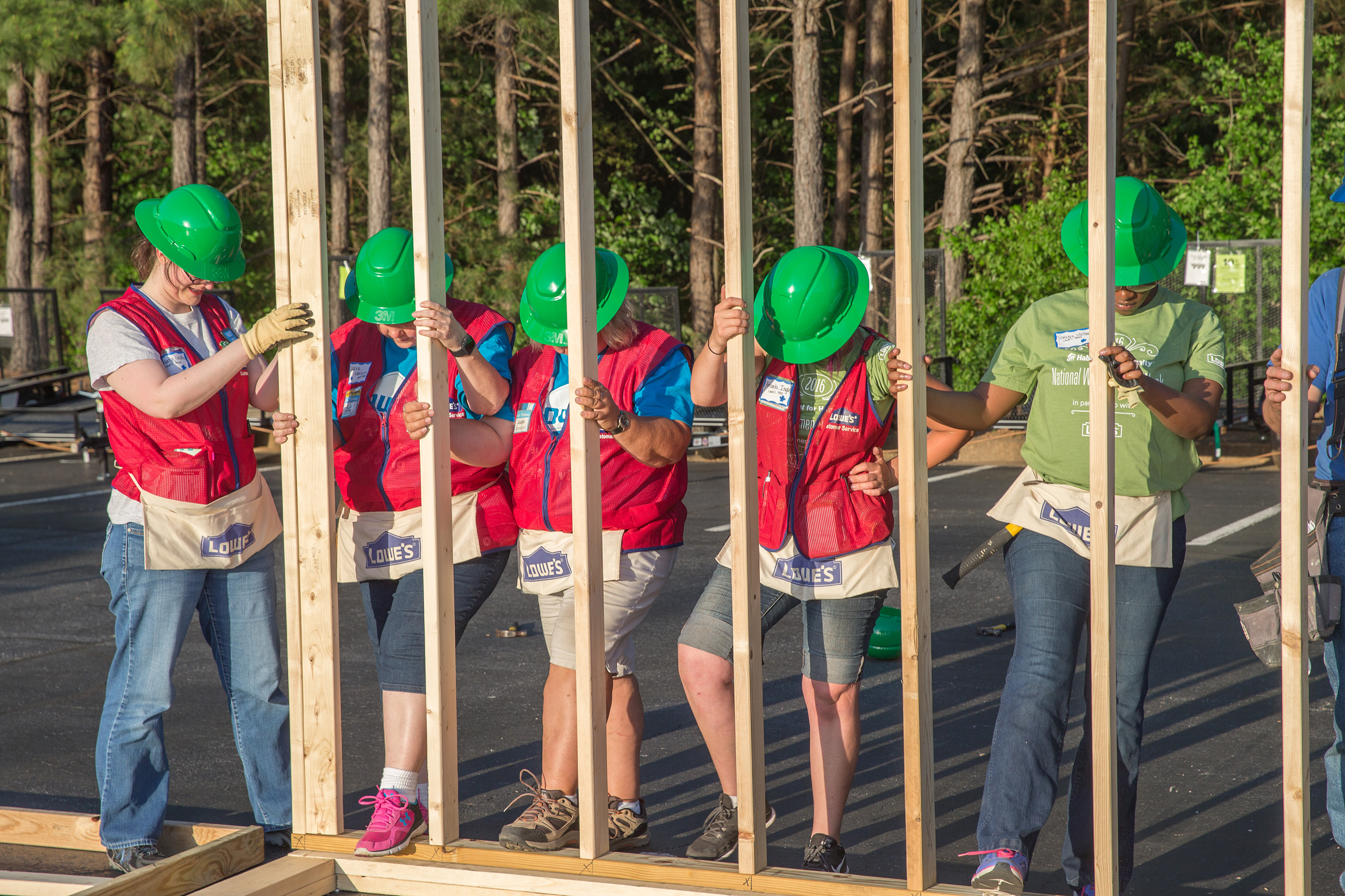 Everyone needs a foundation to build their future. Lowe's and Habitat share the belief that a safe and stable home is a source of strength and security for families. Each year, Lowe's Heroes volunteers help Habitat families build a place they can call home.