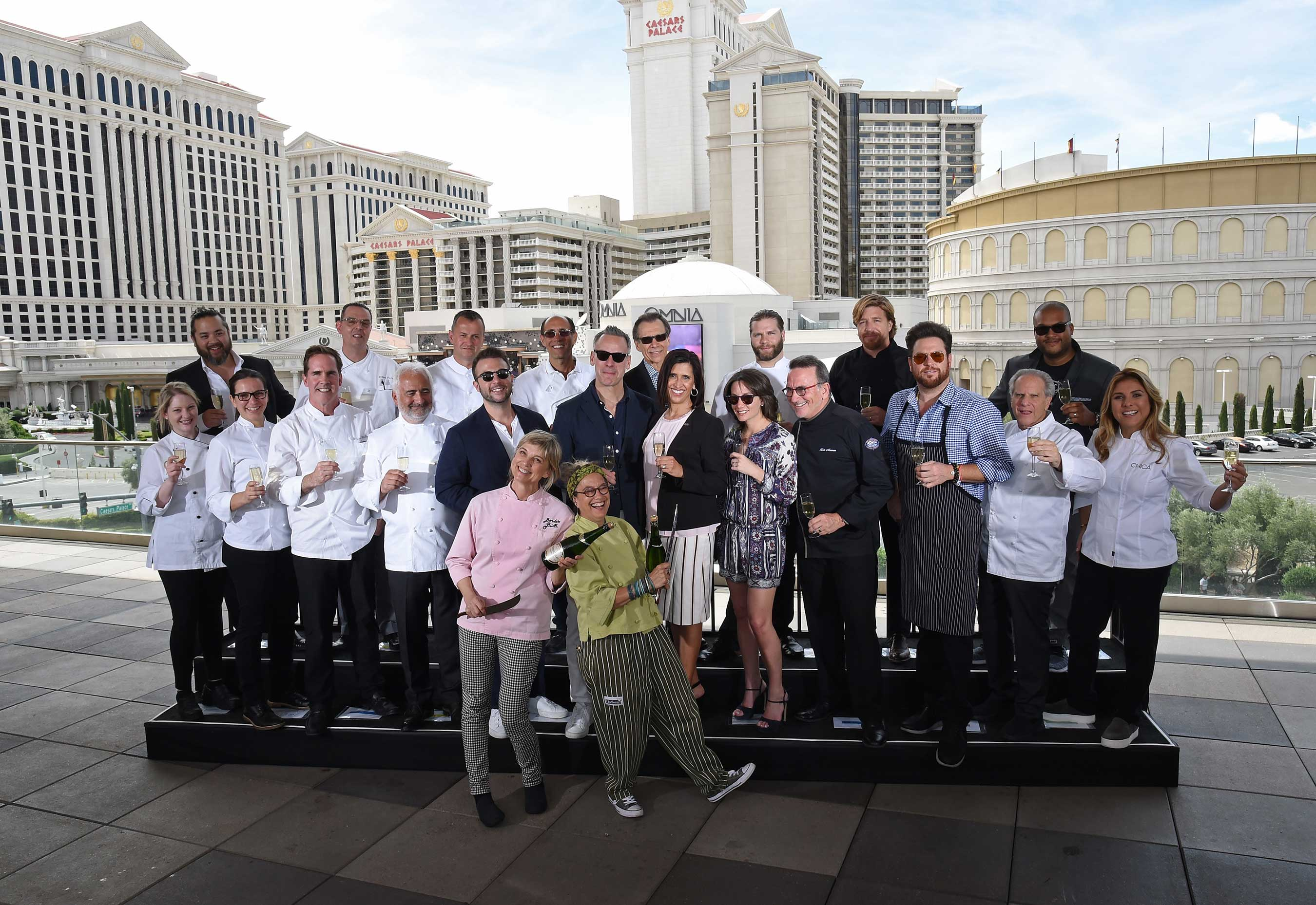 More than 15 iconic chefs gathered for the 11th annual Vegas Uncork'd by Bon Appétit Saber Off at The LINQ Hotel & Casino in Las Vegas (credit Ethan Miller, Getty Images)