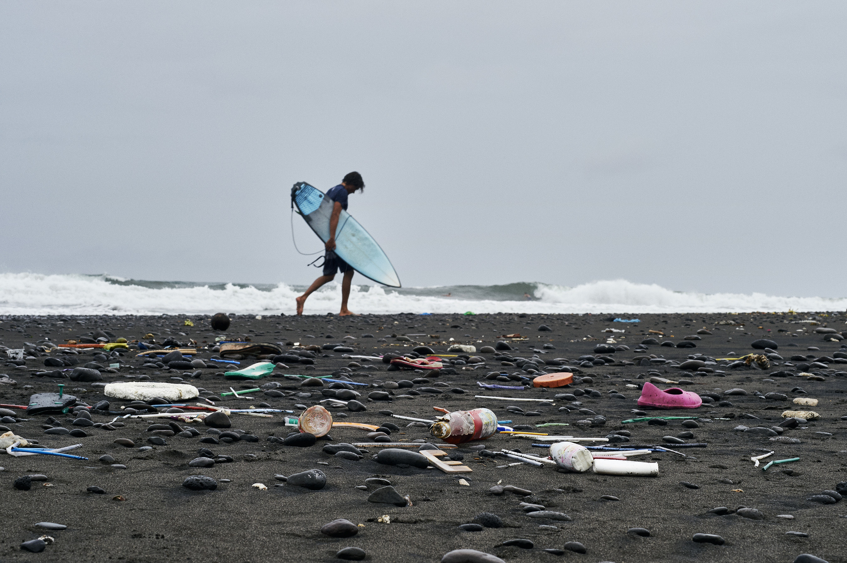 Bali beach littered with marine plastic pollution. Corona and Parley for the Oceans form a global partnership to address marine plastic pollution; commitment to protect 100 islands by 2020.