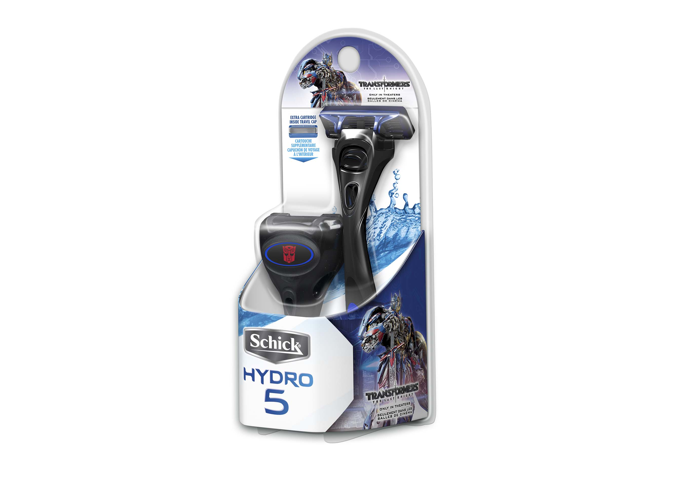 Shoppers can experience a great shave using the new, limited-edition, collectible Schick® Hydro® handles featuring Transformers: The Last Knight fan-favorites Autobot and Decepticon characters including: Optimus Prime, Bumblebee and Megatron, available at your local mass, drug and grocery retailers.