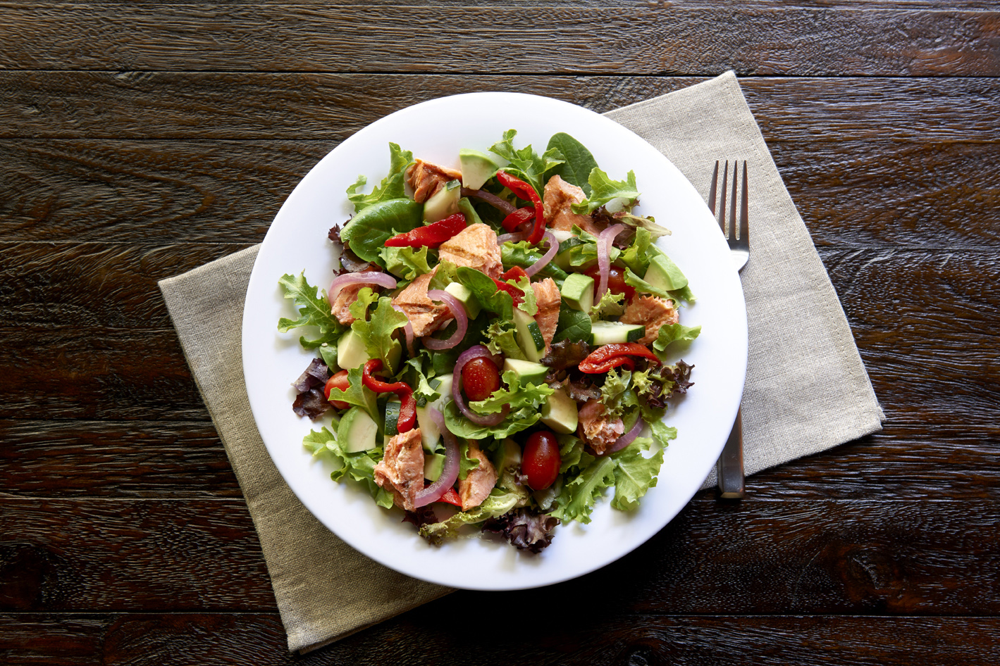 New! Salmon Pacifica Salad.   Introducing the Salmon Pacifica Salad, developed with dietitians and cancer prevention researchers from MD Anderson.