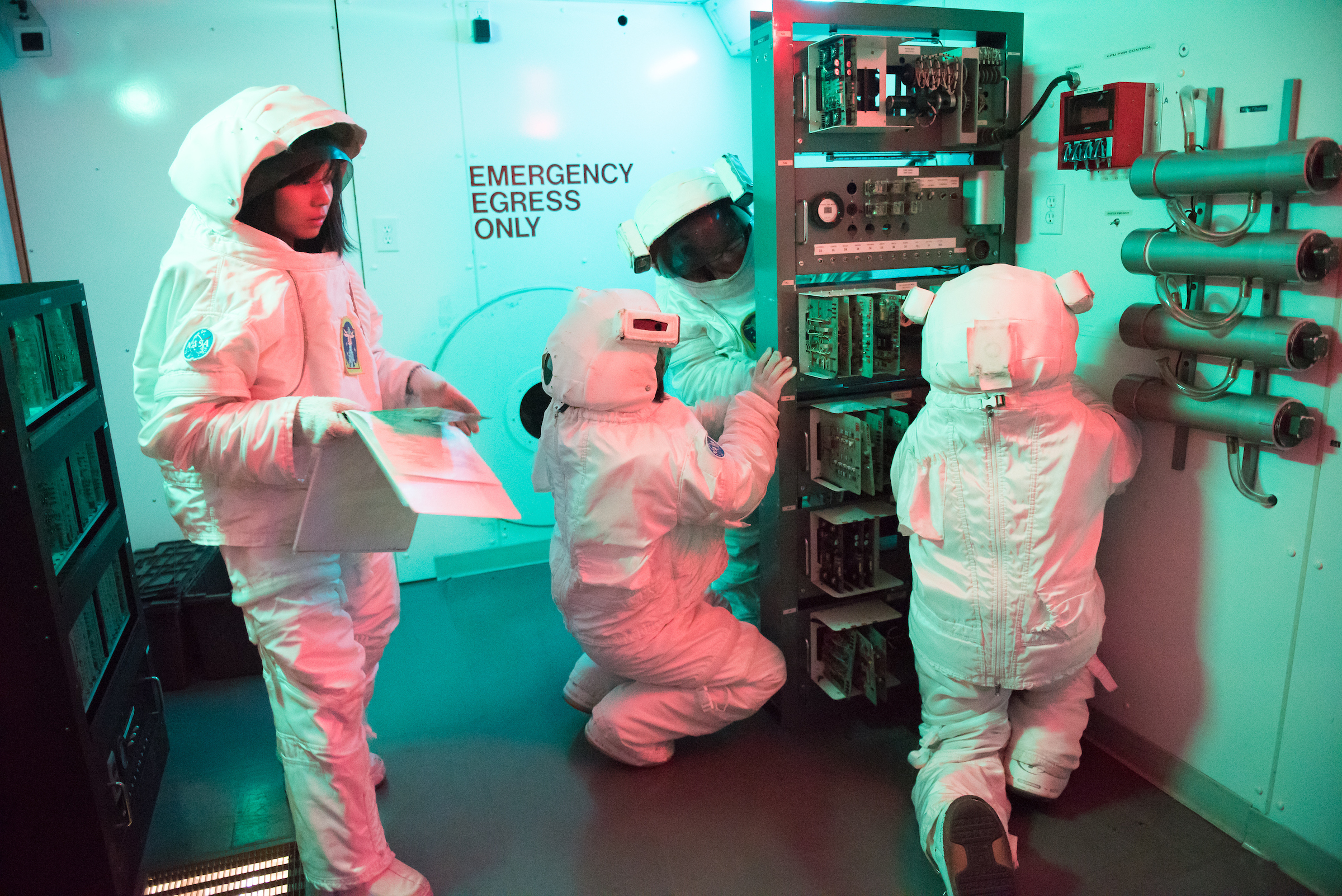 Team Destiny on their Bravo space mission at the U.S. Space and Rocket Center. During Honeywell Educators at Space Academy, teachers break into teams and become astronauts on scenario-based missions.
