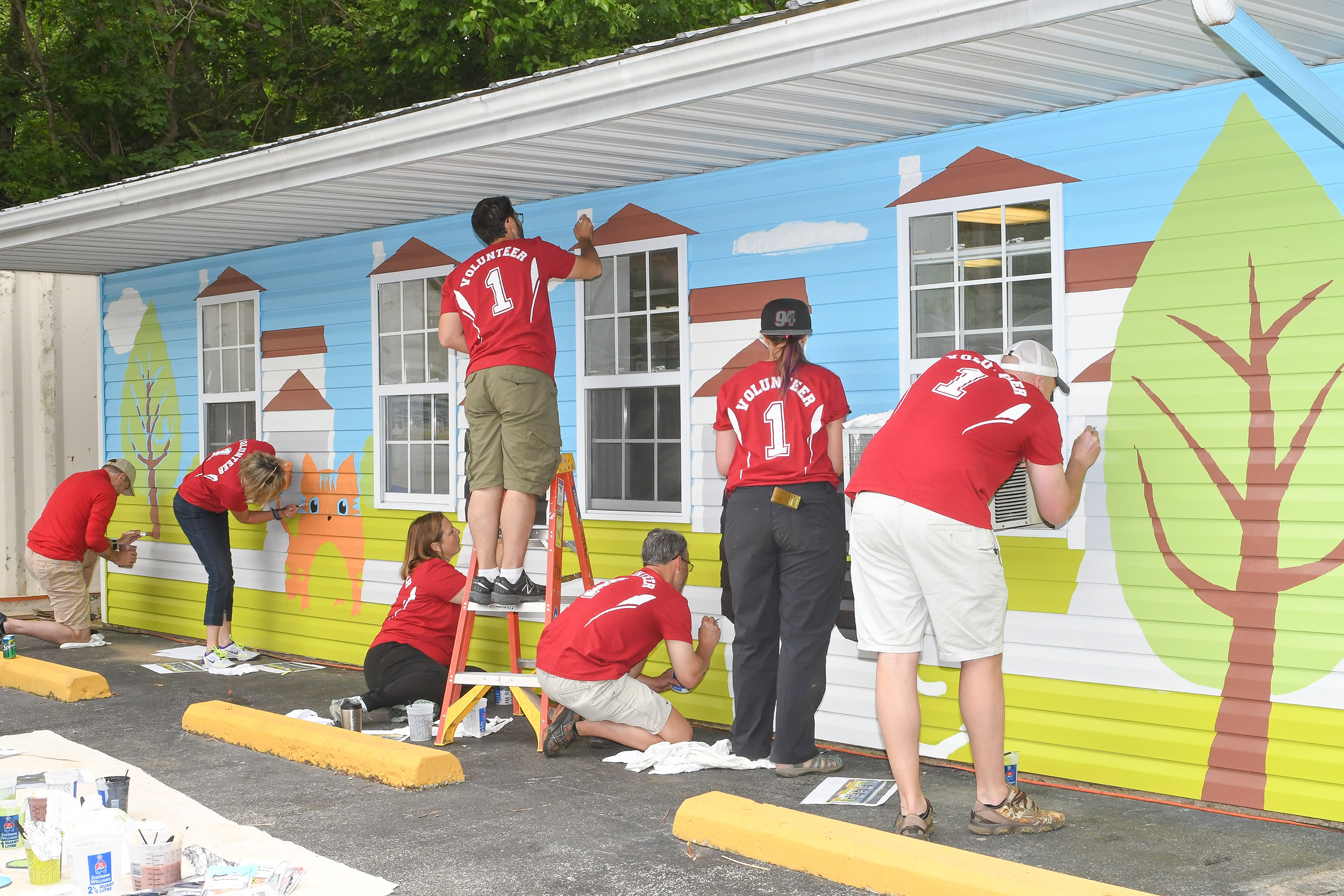 The Belleville Area Humane Society in Illinois received a number of upgrades inside and out, including a mural painted by Purina employees.