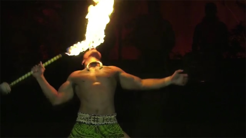 Samoa's Falaniko Penesa dazzled the sold-out crowd at the Polynesian Cultural Center with amazing fireknife routine