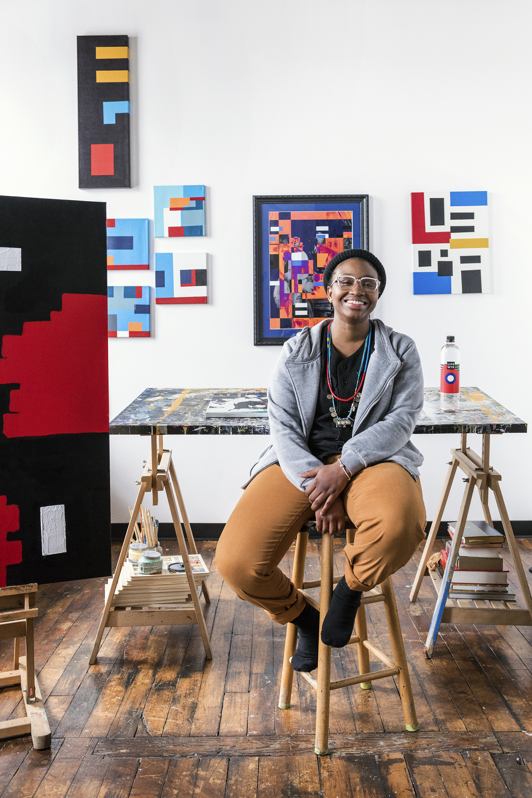 LIFEWTR Series 2 Artist Adrienne Gaither in her Washington, D.C. studio
