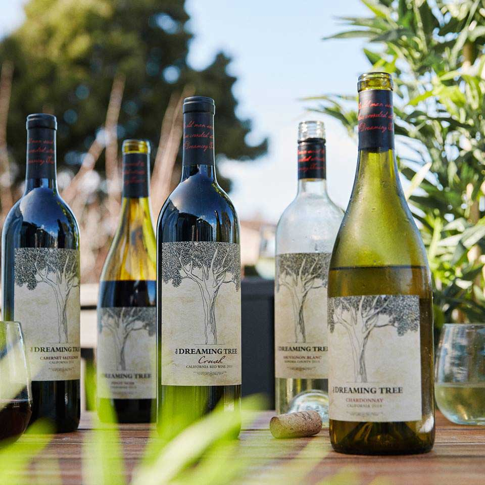The Dreaming Tree's collection of red and white wines are made with 100% recyclable labels and lighter weight glass.