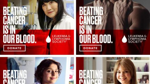 Left to right: Selina Chen-Kiang, Ph.D., Weill Cornell Medicine; 'Beating Cancer Is In Our Blood' feature digital ad; Myrrah, acute lymphoblastic leukemia survivor; Jessica, non-Hodgkin lymphoma survivor.