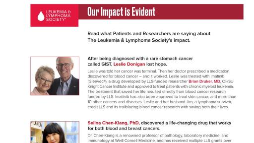 Patient and Researcher Testimonials of LLS's Impact
