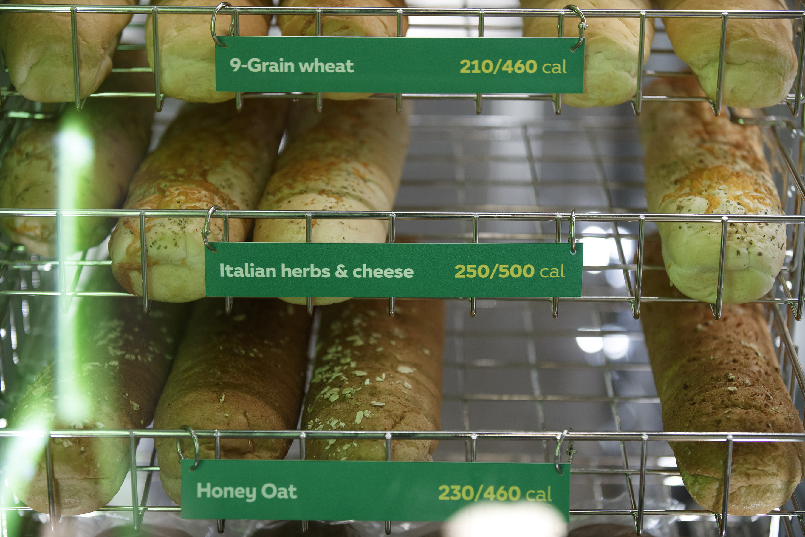 New fresh baked bread displays are featured on the front of the line.