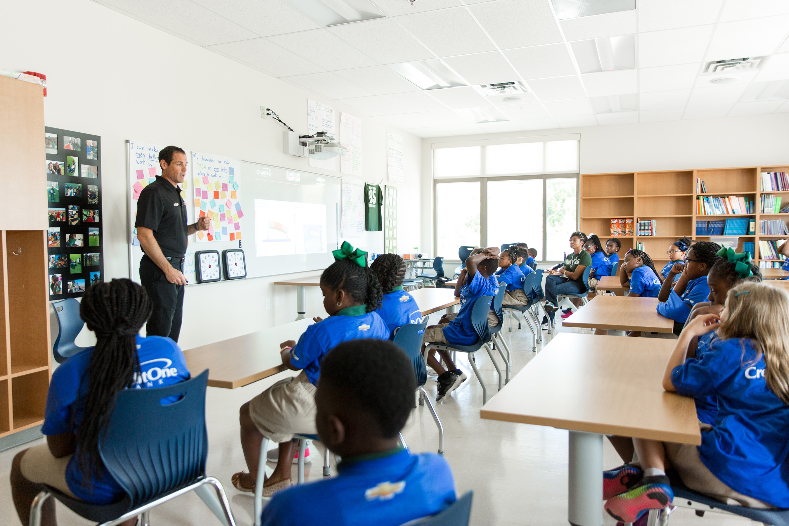 Jeff Price, Chip Ganassi Racing design engineer group leader, speaks to Meeting Street Academy students about STEM subjects on Wednesday, August 2, 2017 in Charleston, S.C. (Minette Hand Photography)