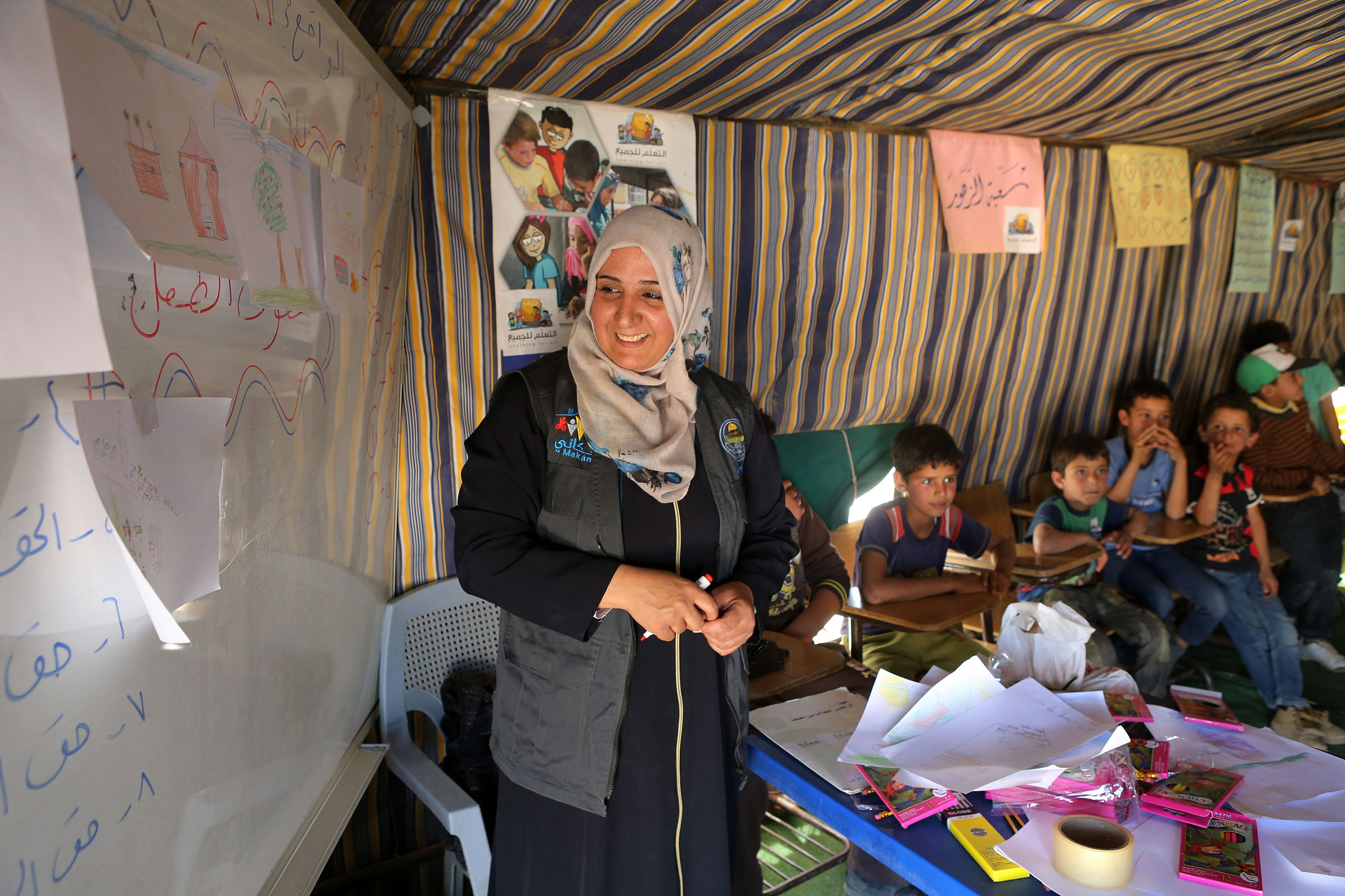 UNICEF provides educational resources and learning opportunities in Child Friendly Spaces | Credit: ©SalahMalkawi