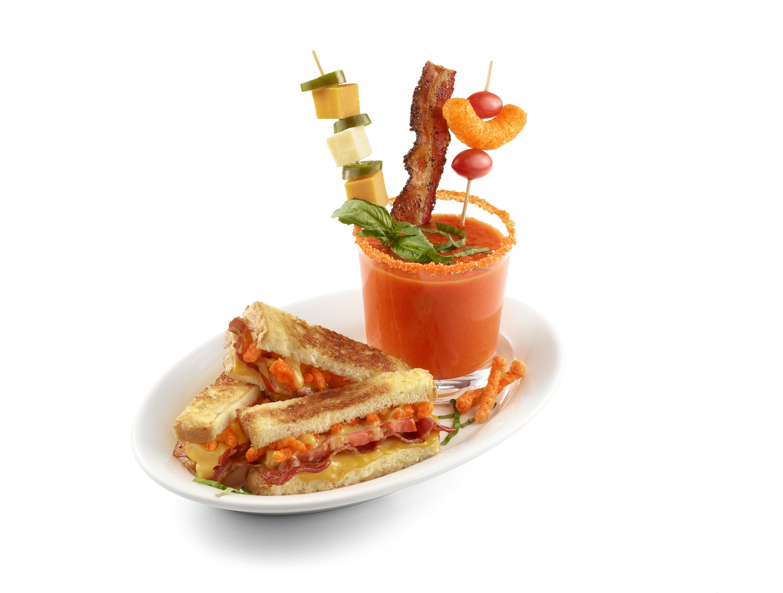 One of three appetizer options, The Spotted Cheetah's Cheetos® Grilled Cheese & Tomato Soup is a delicious spin on a familiar comfort food to warm every Cheetos lover's soul.
