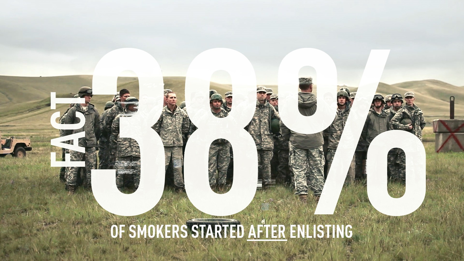 Fact: 38 percent of military smokers start after enlisting.