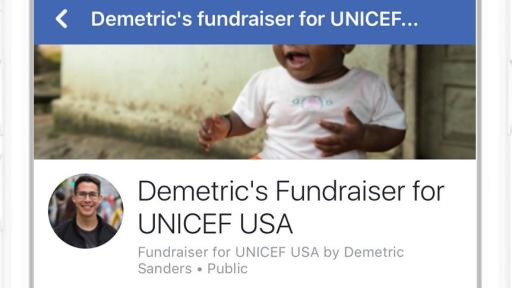 iPhone showing Facebook's Matched Fundraiser Page.