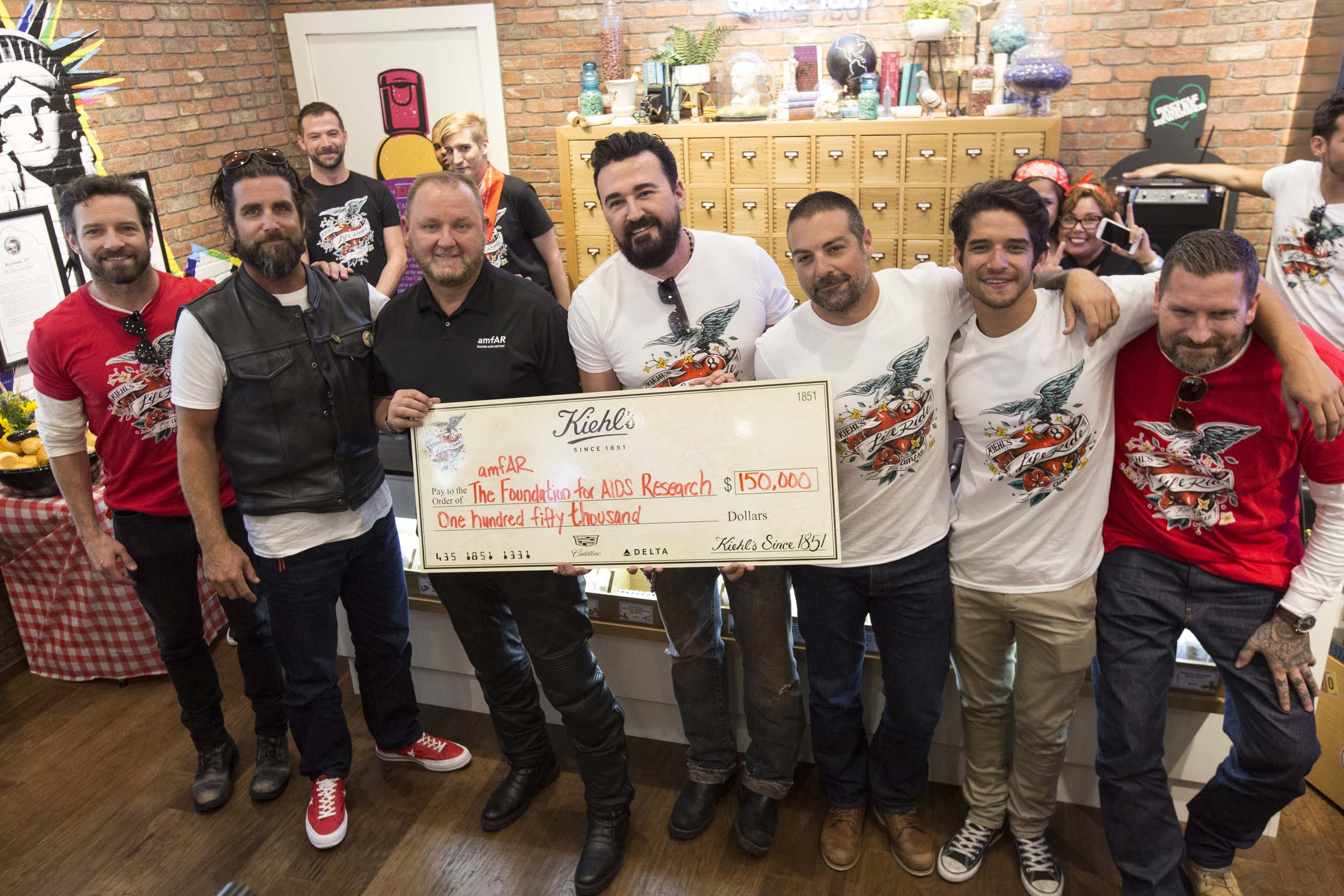 Ian Bohen, Grant Reynolds, Kevin Robert Frost, Chris Salgardo, Anthony Carrino, Tyler Posey and Luke Wessman rode motorcycles from Minneapolis to Nashville, to raise funds and awareness for amfAR, The Foundation for AIDS Research. Fundraising will continue through August.