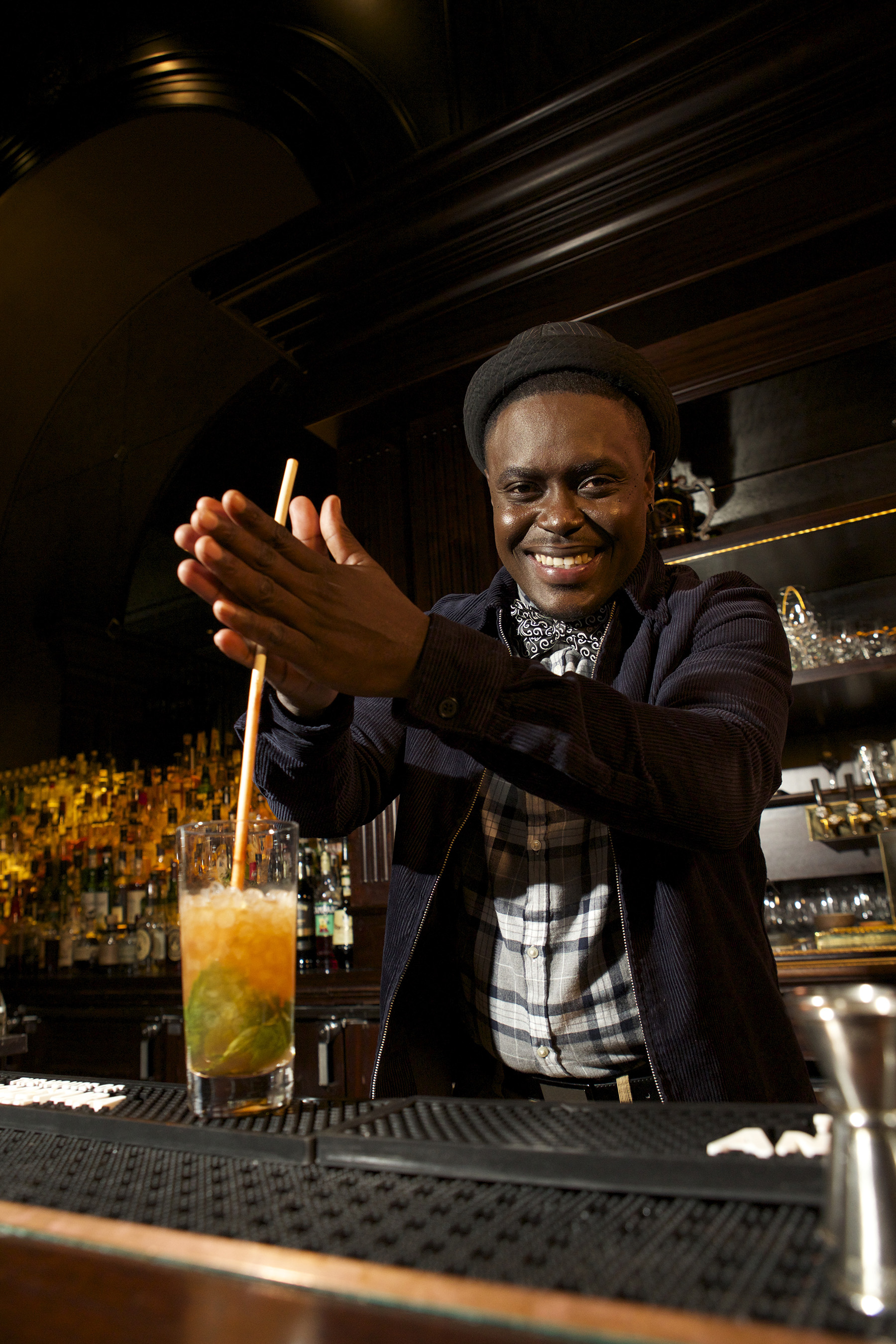 "THE HOUSE OF ANGOSTURA Chief Mixologist Raymond Edwards demonstrates how to ""swizzle"" a cocktail."