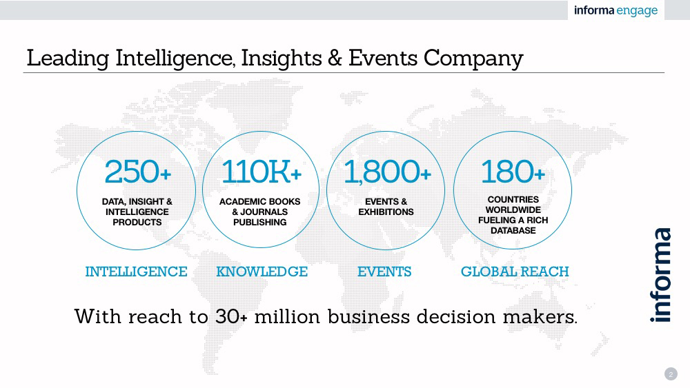 Informa Engage owns and manages our 1st party database of 30+ million business user