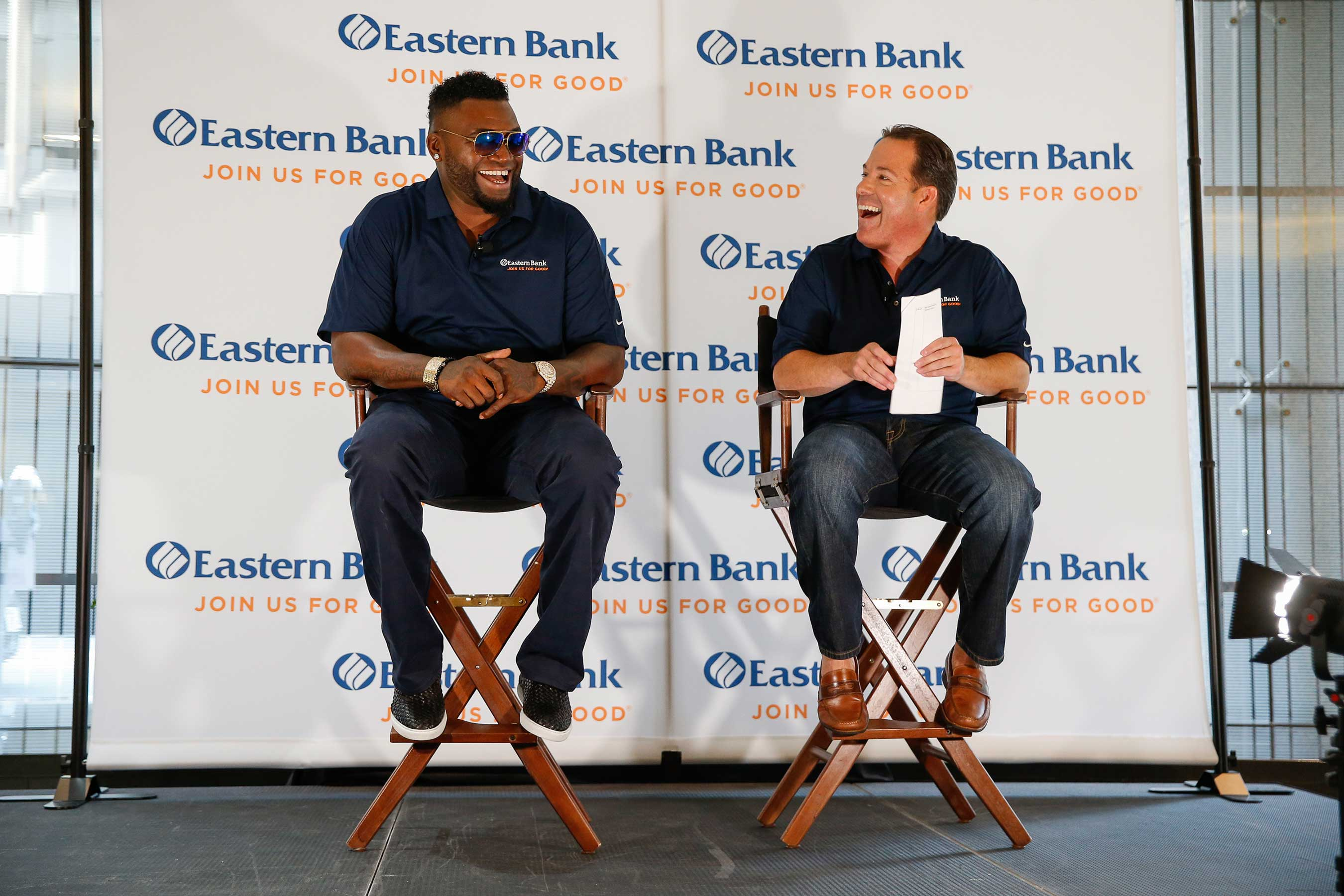 Bob Rivers, Chairman and CEO of Eastern Bank, announces David Ortiz as the bank's newest Partner For Good.