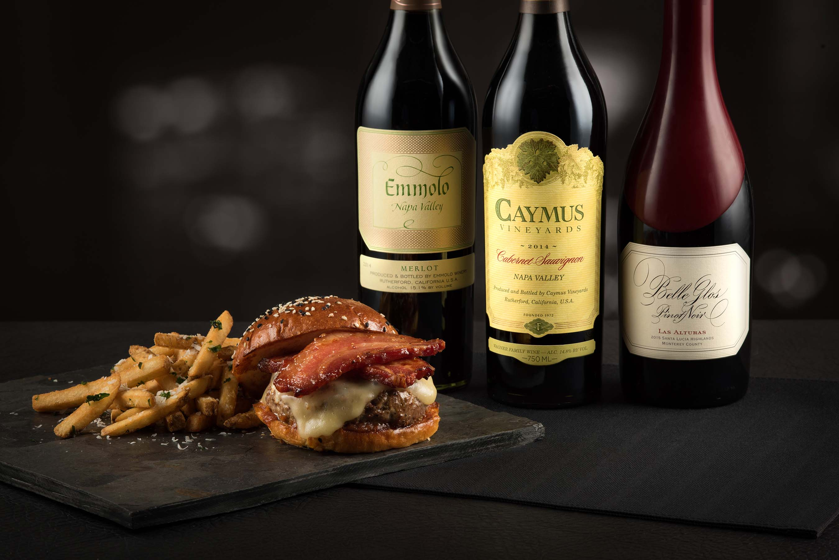 Wagyu Bacon Cheesburger with Wagner Winemakers Lineup