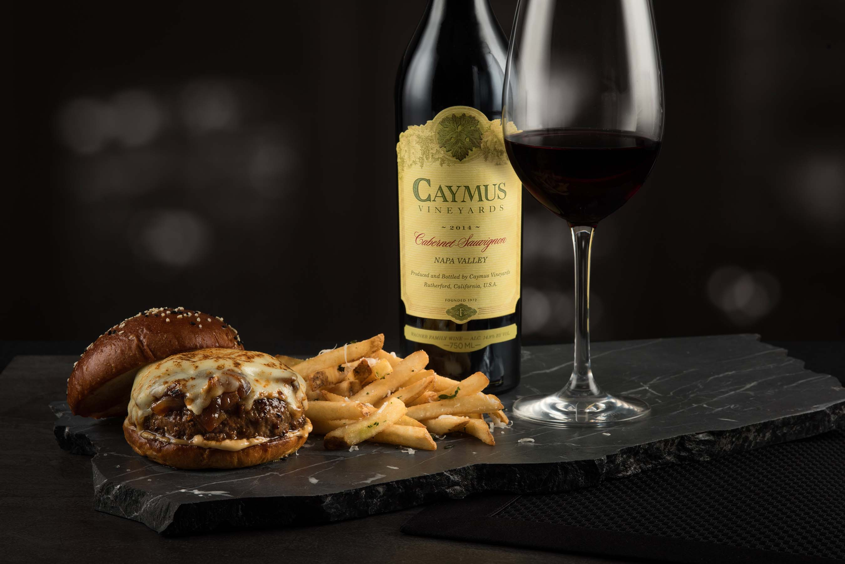 Wagyu Cheesburger with Caymus Cabernet Sauvignon