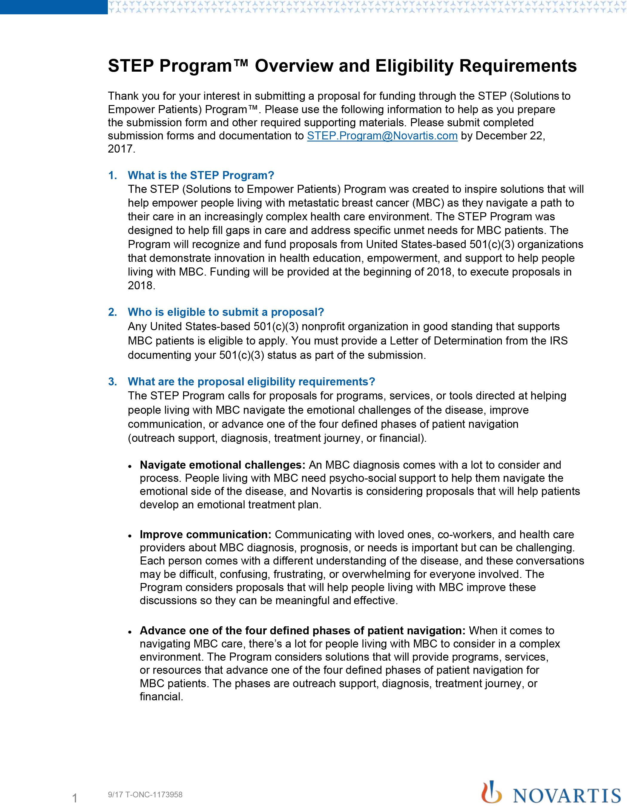 Novartis launches step program step program resources step program submission form falaconquin