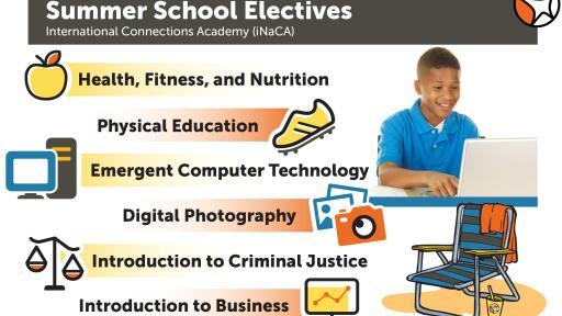 Boy on laptop. Graphic has multiple overlays listing the most popular online summer school electives.