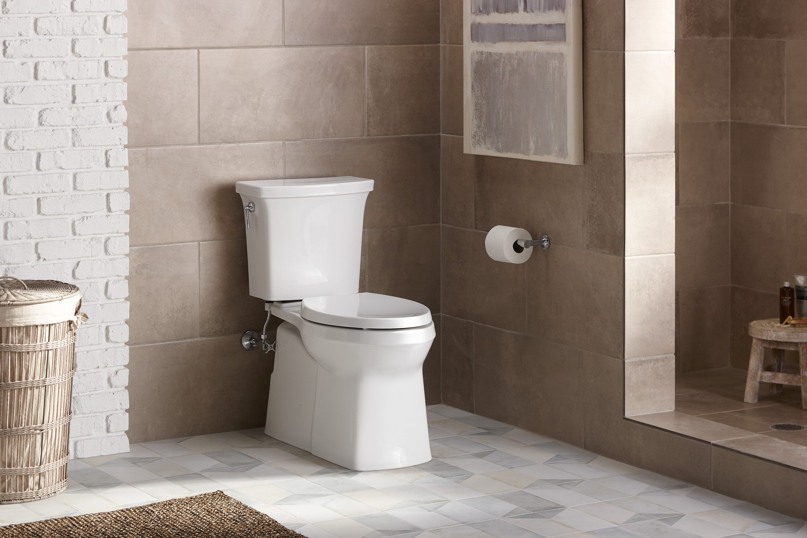 Kohler Corbelle toilet with Revolution 360 flush is powered by the AquaPiston canister technology which allows water to flow out of the tank at 360 degrees, increasing the power and effectiveness of the flush.
