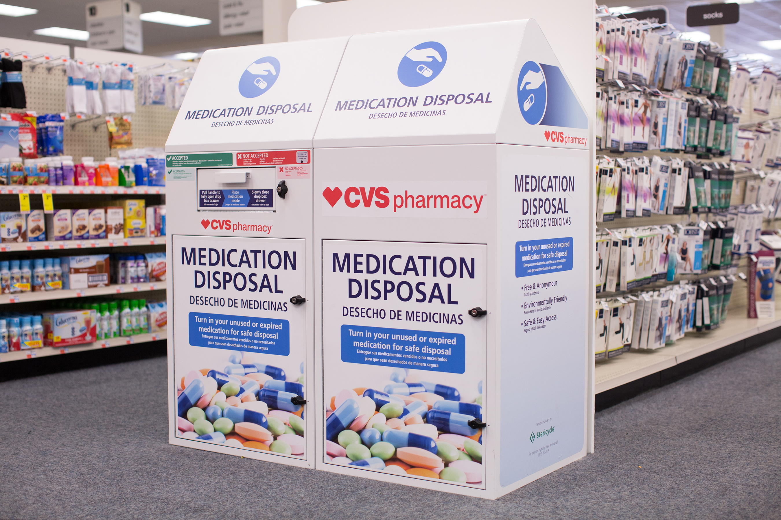 Medication disposal units inside CVS Pharmacy stores