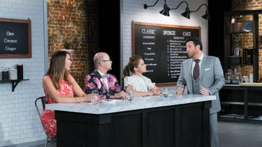 Gemma Stafford, Jason Smith and Marcela Valladolid at judging table with Scott Conant