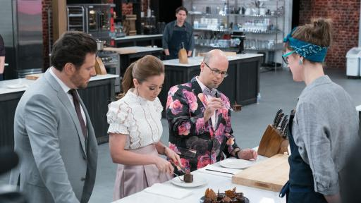 Scott Conant, Marcela Valladolid and Jason Smith check in on Becca Craig