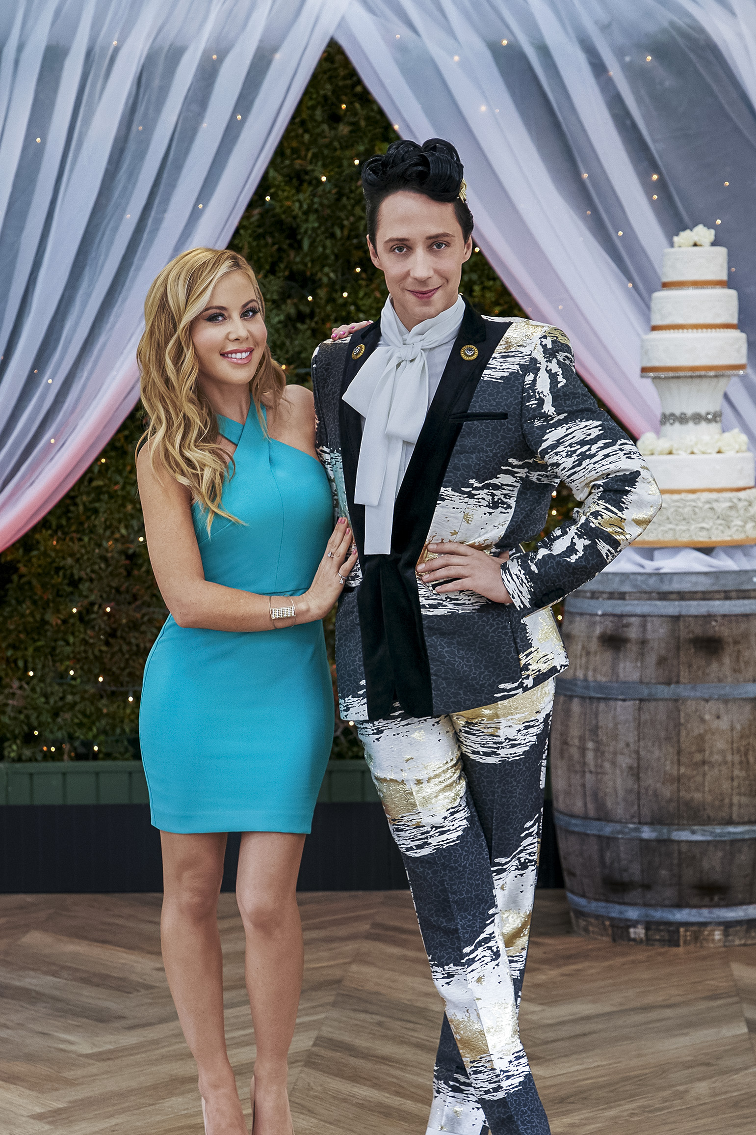 Hosts Tara Lipinski and Johnny Weir on Food Network's Wedding Cake Championship