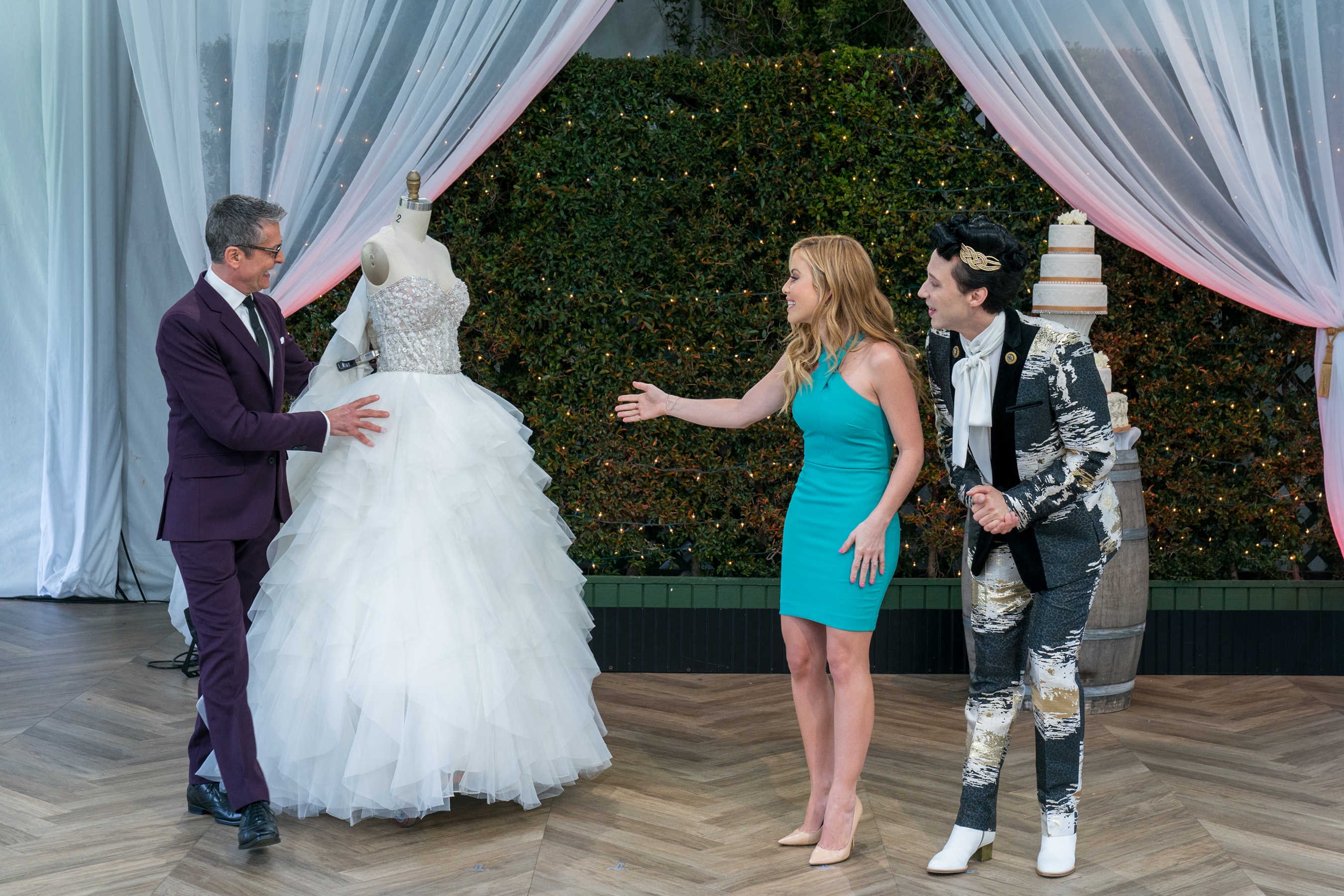 Randy Fenoli with Tara Lipinski and Johnny Weir, on Food Network's Wedding Cake Championship