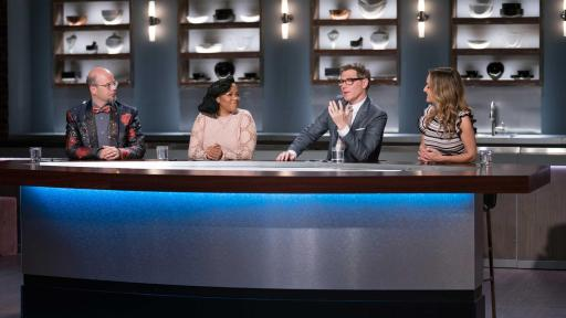 Bobby Flay and Giada De Laurentiis with Food Network Star winners Jason Smith and Tregaye Fraser on Food Network Star