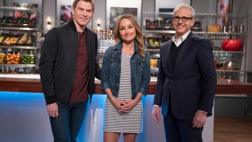 Bobby Flay and Giada De Laurentiis with Jess Cagle on Food Network Star