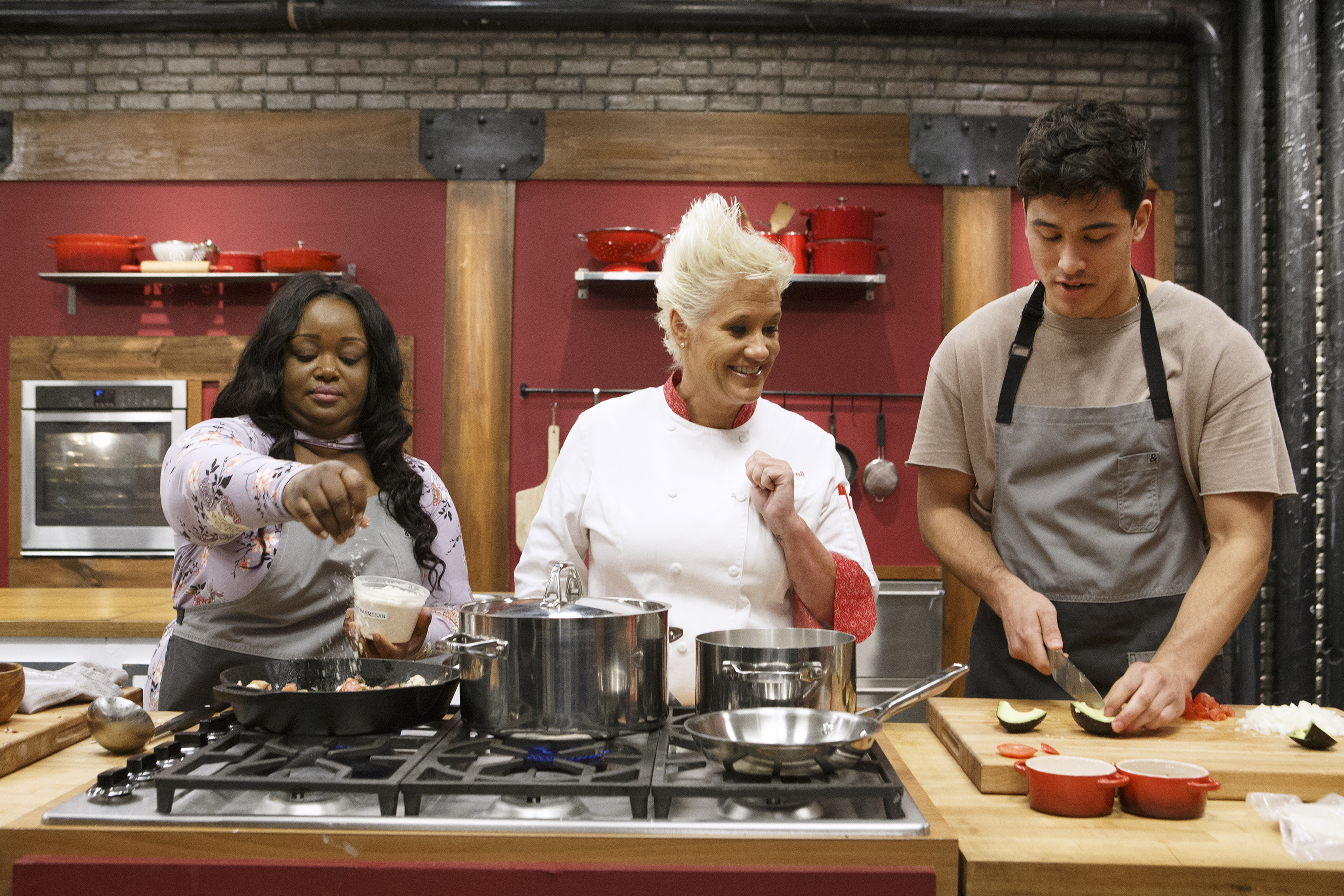Anne Burrell checks in on recruits Janese Henry and Bradley Garcia on Food Network's Worst Cooks in America