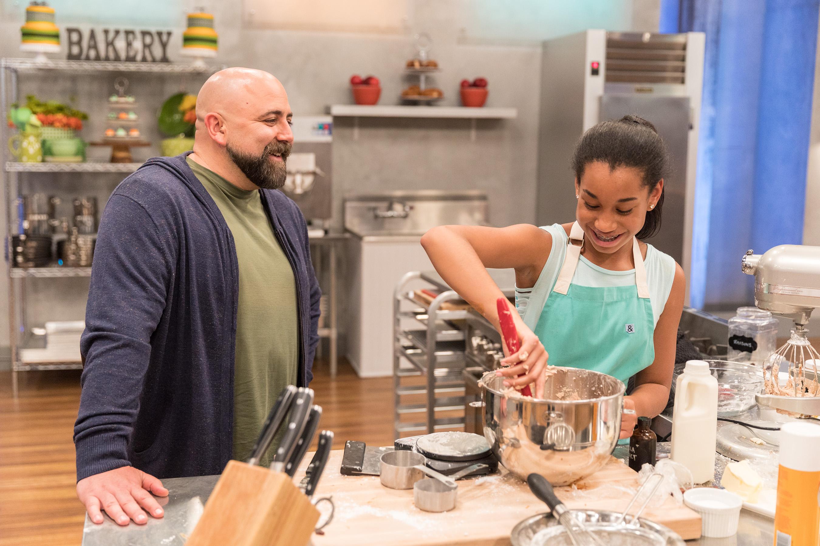 Duff Goldman checks in on contestant on Food Network's Kids Baking Championship