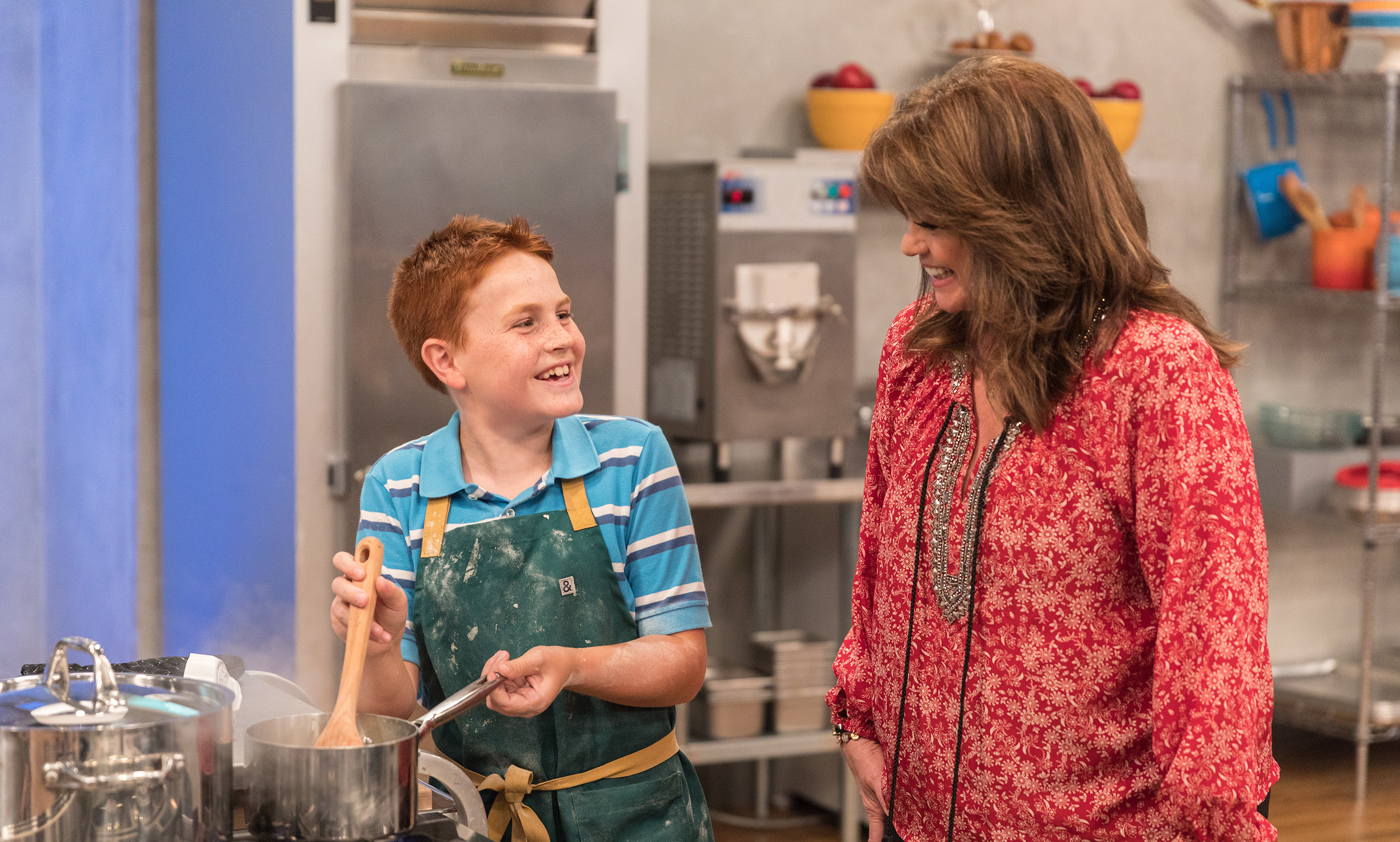 Valerie Bertinelli checks in on contestant on Food Network's Kids Baking Championship