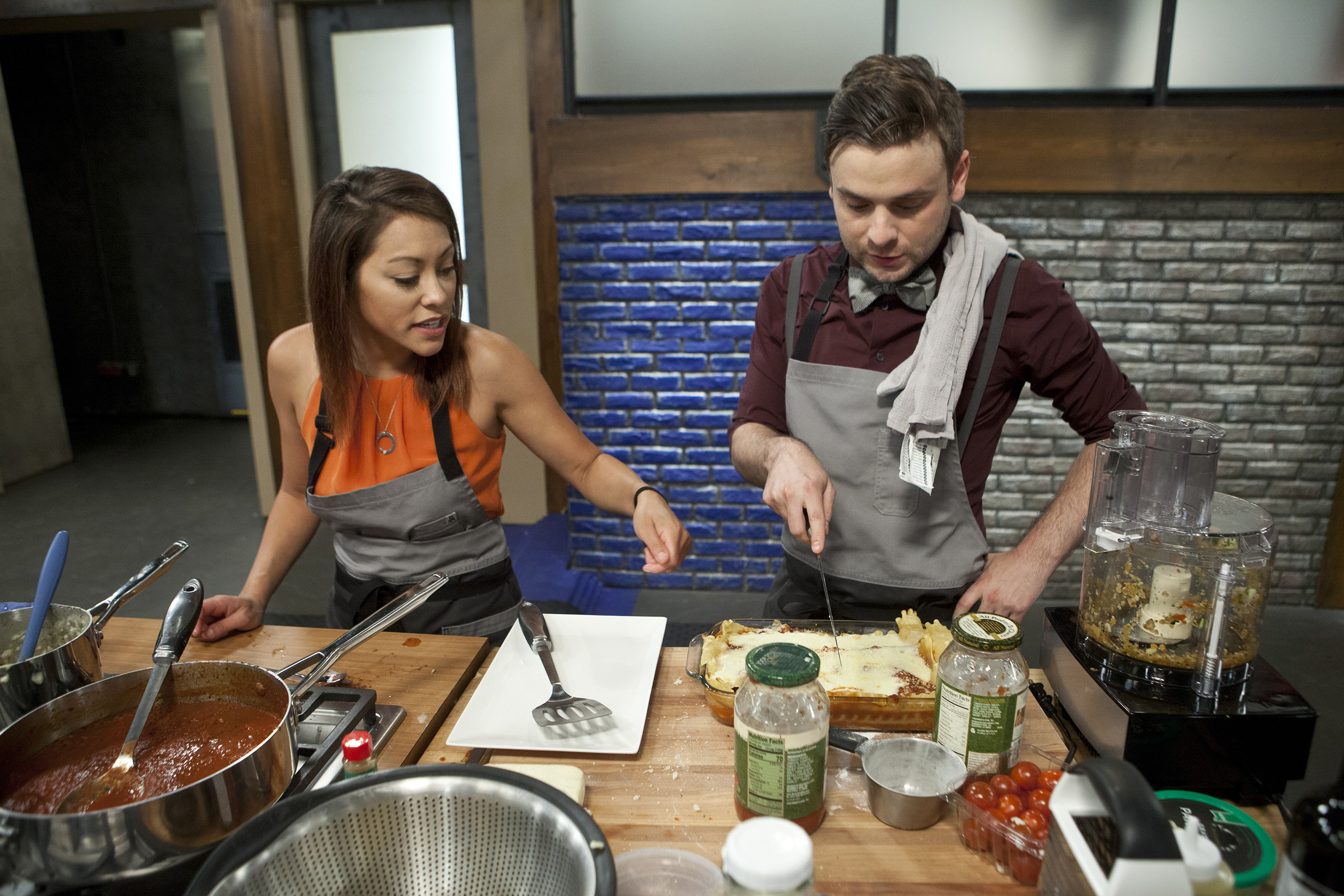 Recruits Priscilla Nguyen and Steven Crowley on Food Network's Worst Cooks In America