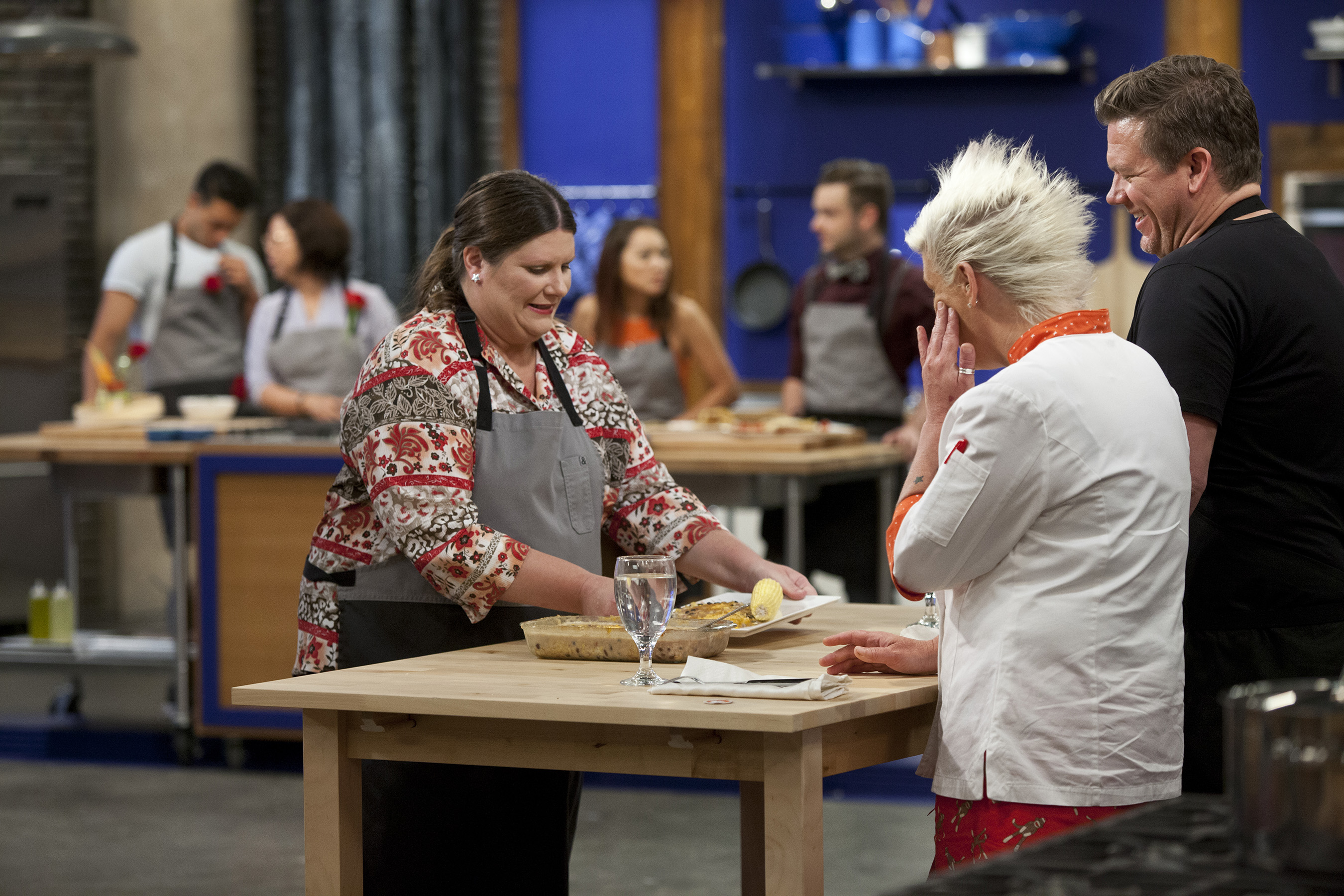 Anne Burrell and Tyler Florence judge recruit Kayrene Curtis' dish on Food Network's Worst Cooks in America
