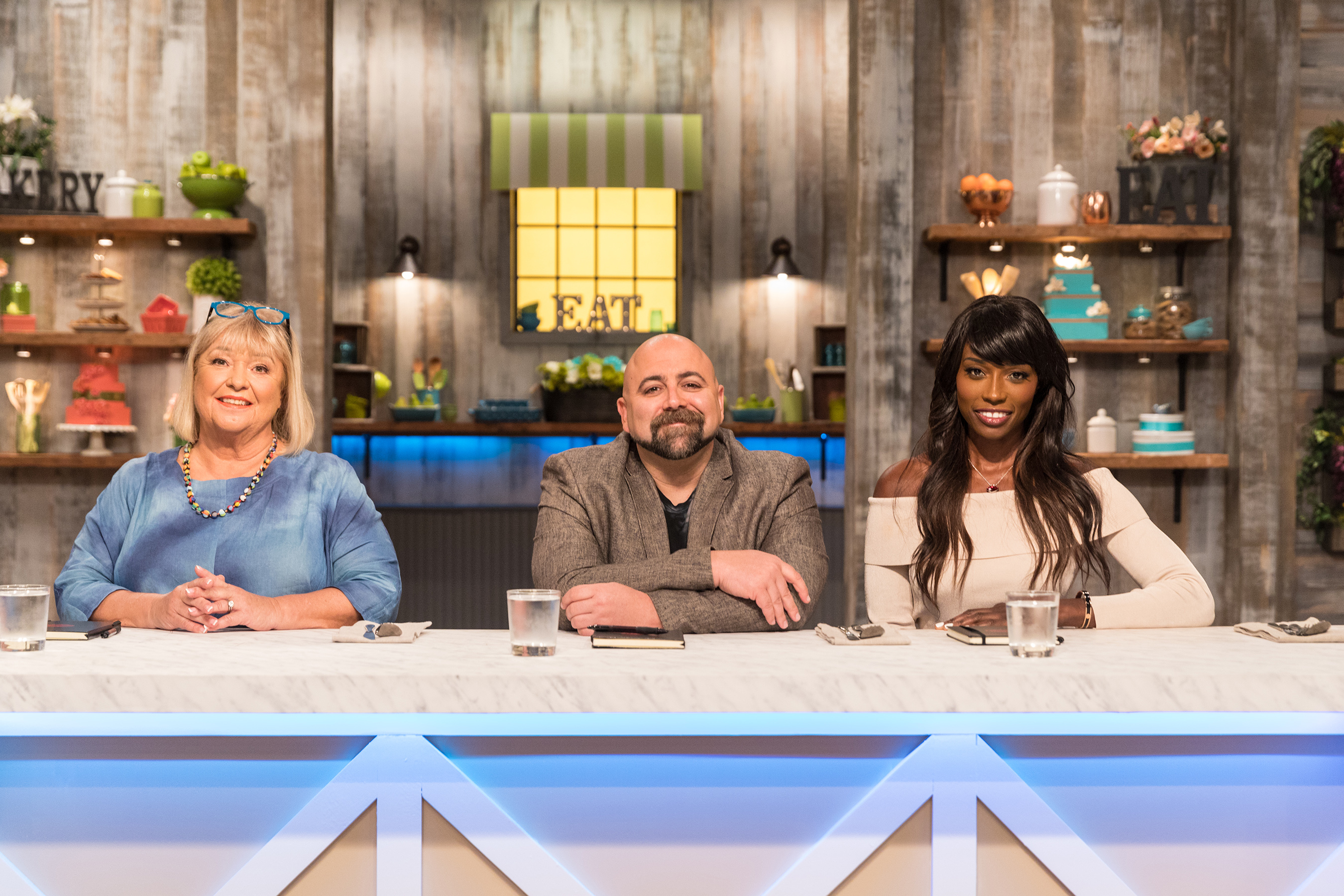 Nancy Fuller, Duff Goldman and Lorraine Pascale, judges on Food Network's Spring Baking Championship