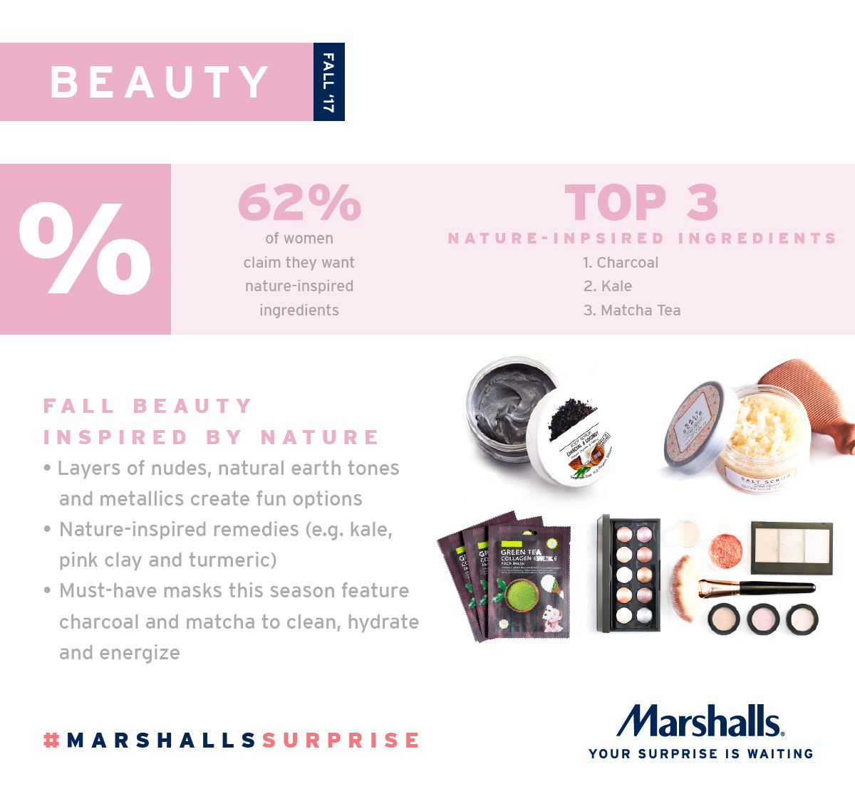 Fall 2017 beauty is inspired by nature with natural looks and remedies from the Earth, according to the Marshalls Fall 2017 trend report.
