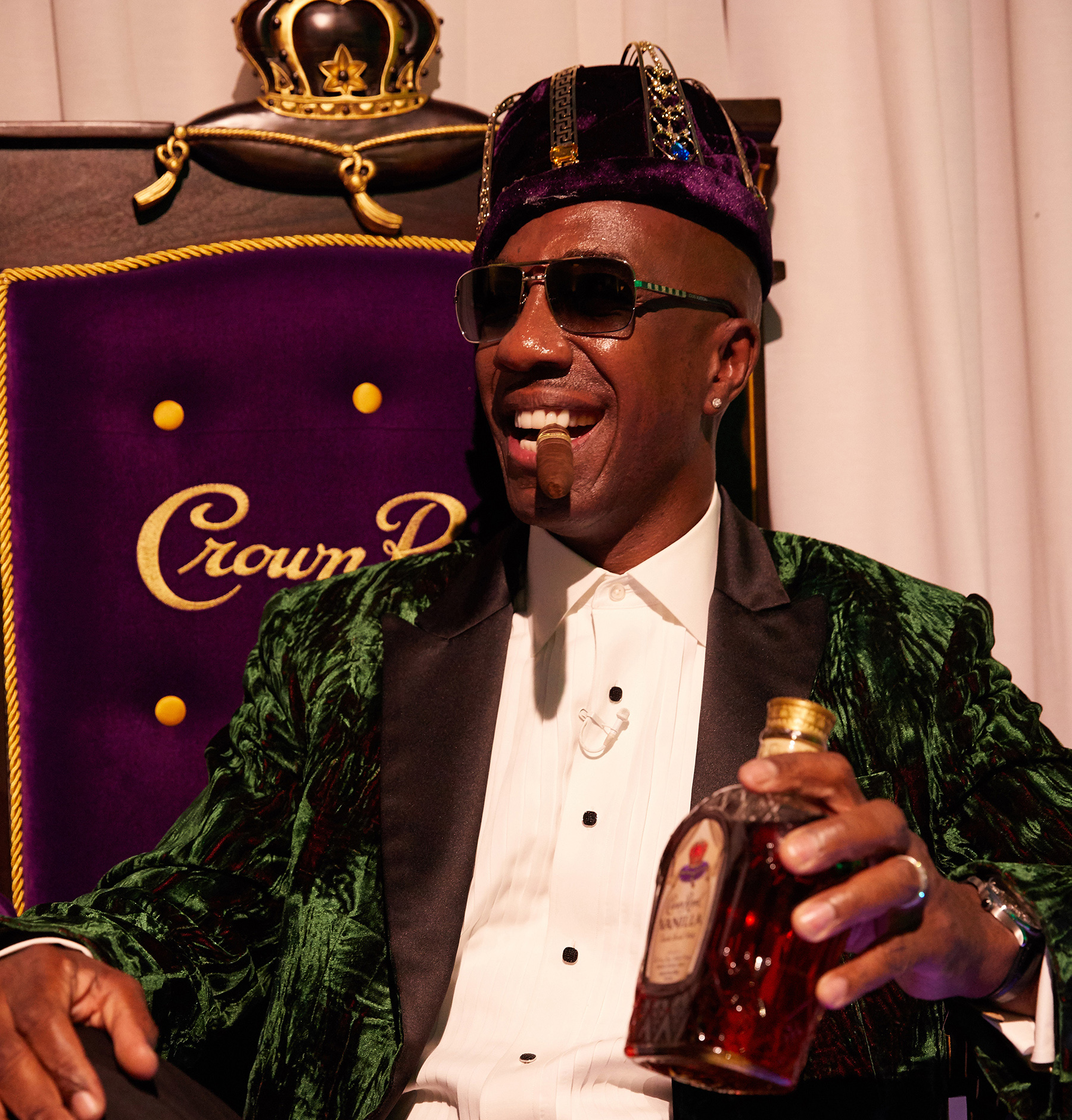 "The recently crowned ""King of Flavor,"" actor/comedian J.B. Smoove sits on his official Crown Royal Throne after his coronation in New York City on October 11, 2017"