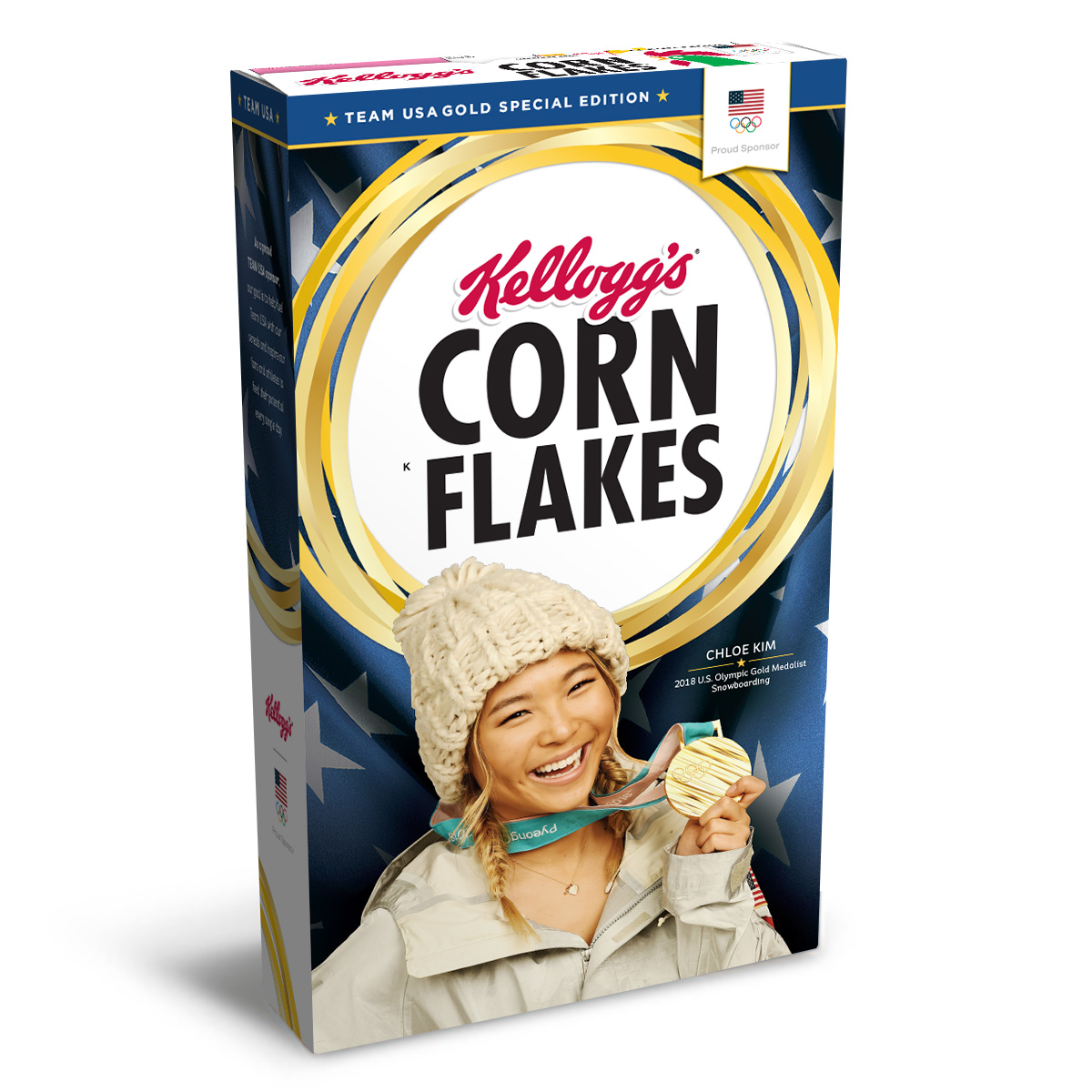 Chloe Kim's Gold Medal Edition Kellogg's® Corn Flakes® Box