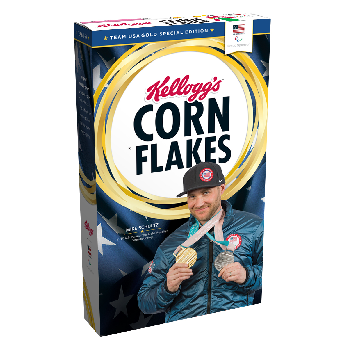 Mike Schultz's Gold Medal Edition Kellogg's® Corn Flakes® Box.