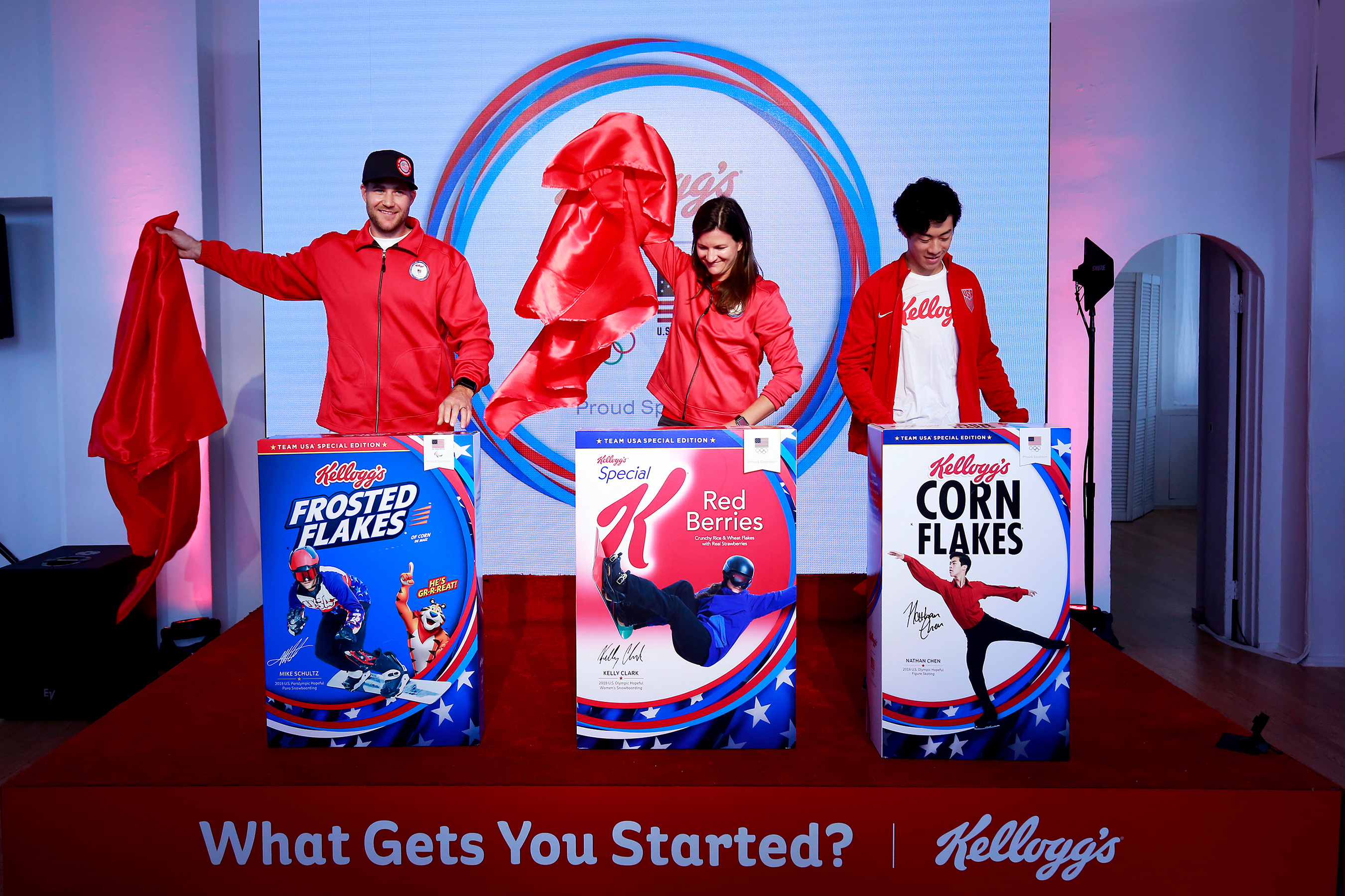 In celebration of the Olympic and Paralympic Winter Games 2018, Kellogg's unveiled limited-edition cereal boxes featuring Team USA hopefuls Mike Schultz, Paralympic snowboarding, from left, Kelly Clark, snowboarding, and Nathan Chen, figure skating. The athletes, along with Meghan Duggan, ice hockey (not pictured), were introduced as Team Kellogg's.