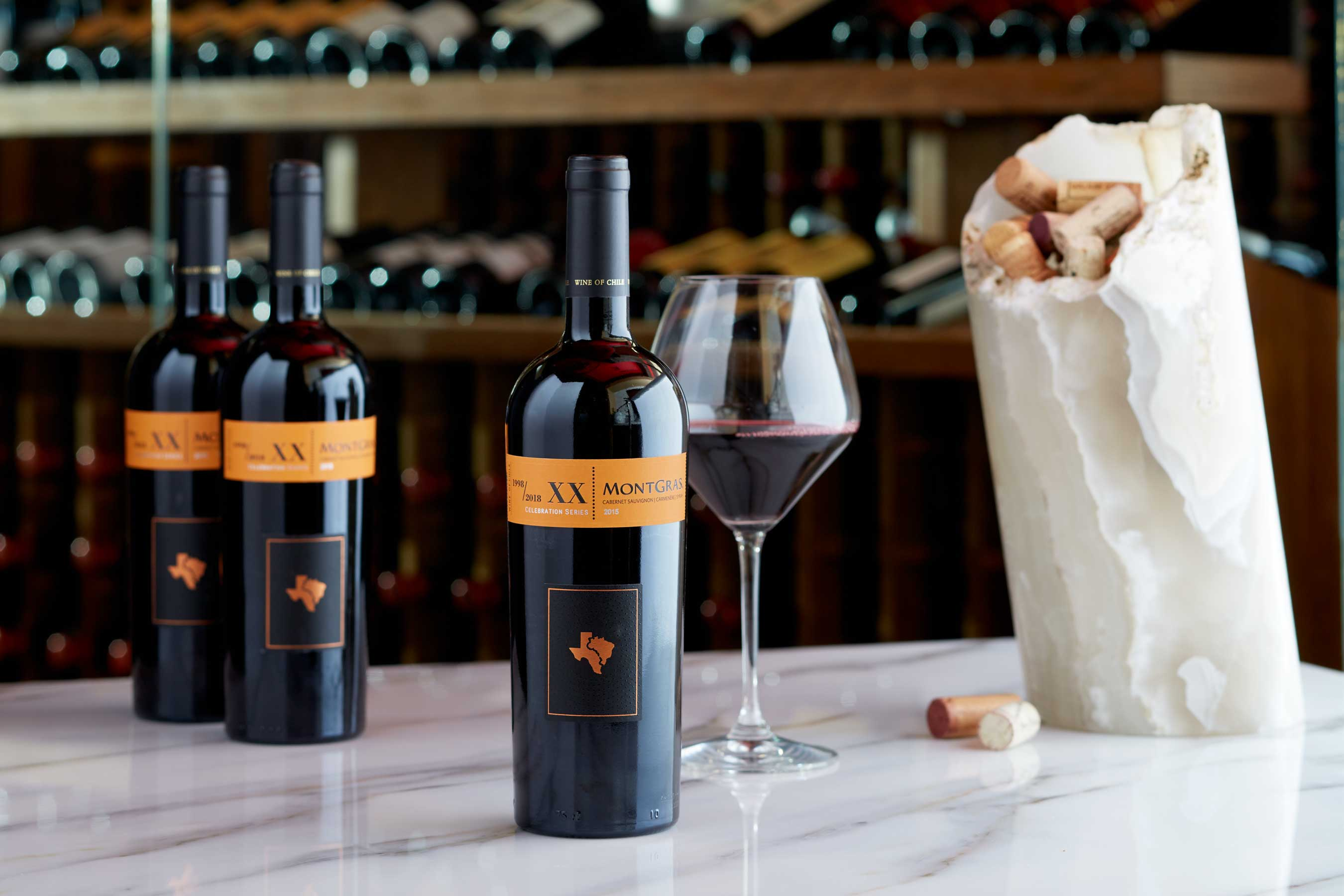 """Texas de Brazil toasts its milestone 20th anniversary with the limited release private label wine, XX """"Celebration Series"""" MontGras bottled by Chilean winemaker Santiago Margozzini."""
