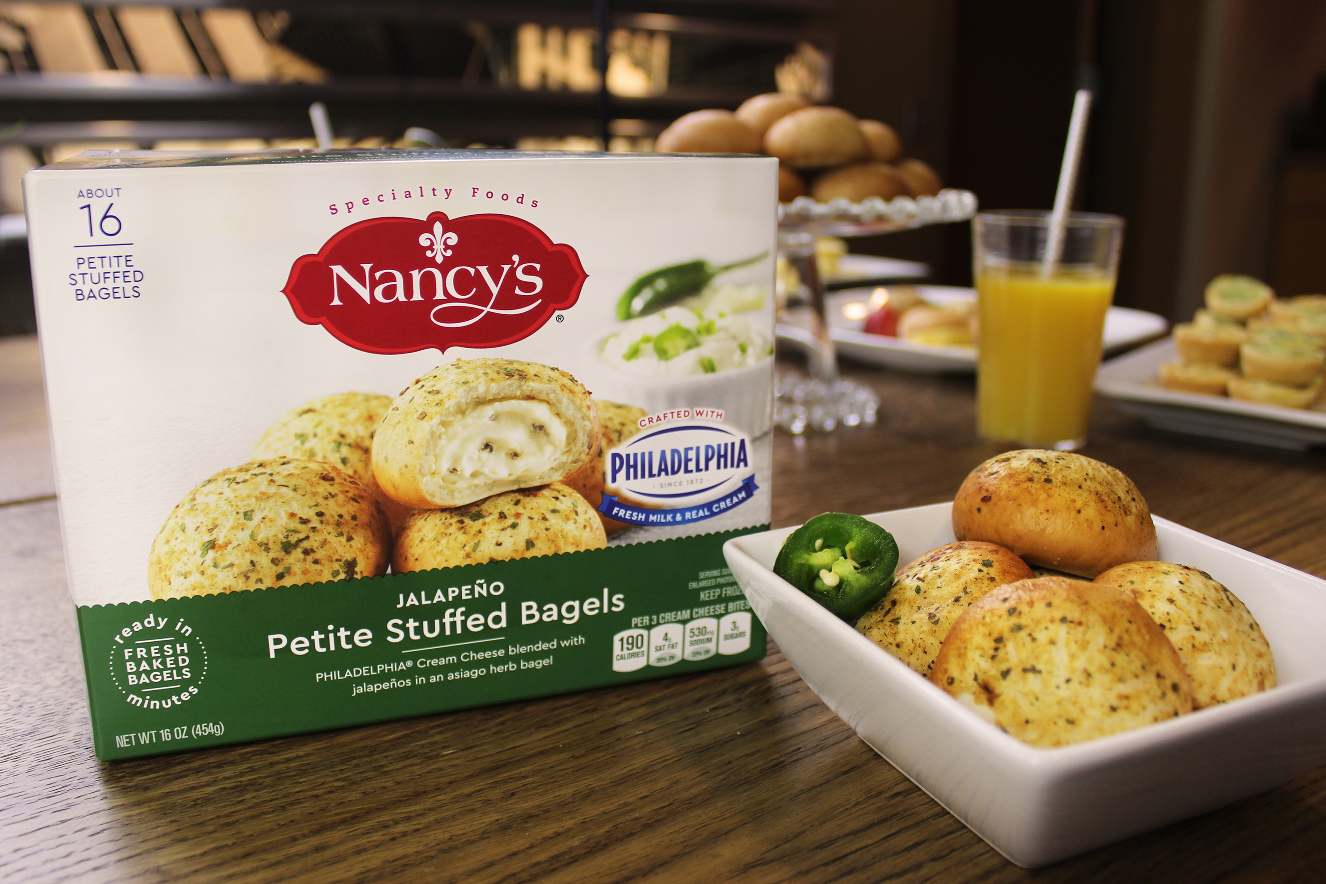 Create a pop of flavor excitement anytime with Nancy's Petite Stuffed Jalapeno Bagels made with PHILADELPHIA Cream Cheese blended with jalapenos in an asiago herb bagel